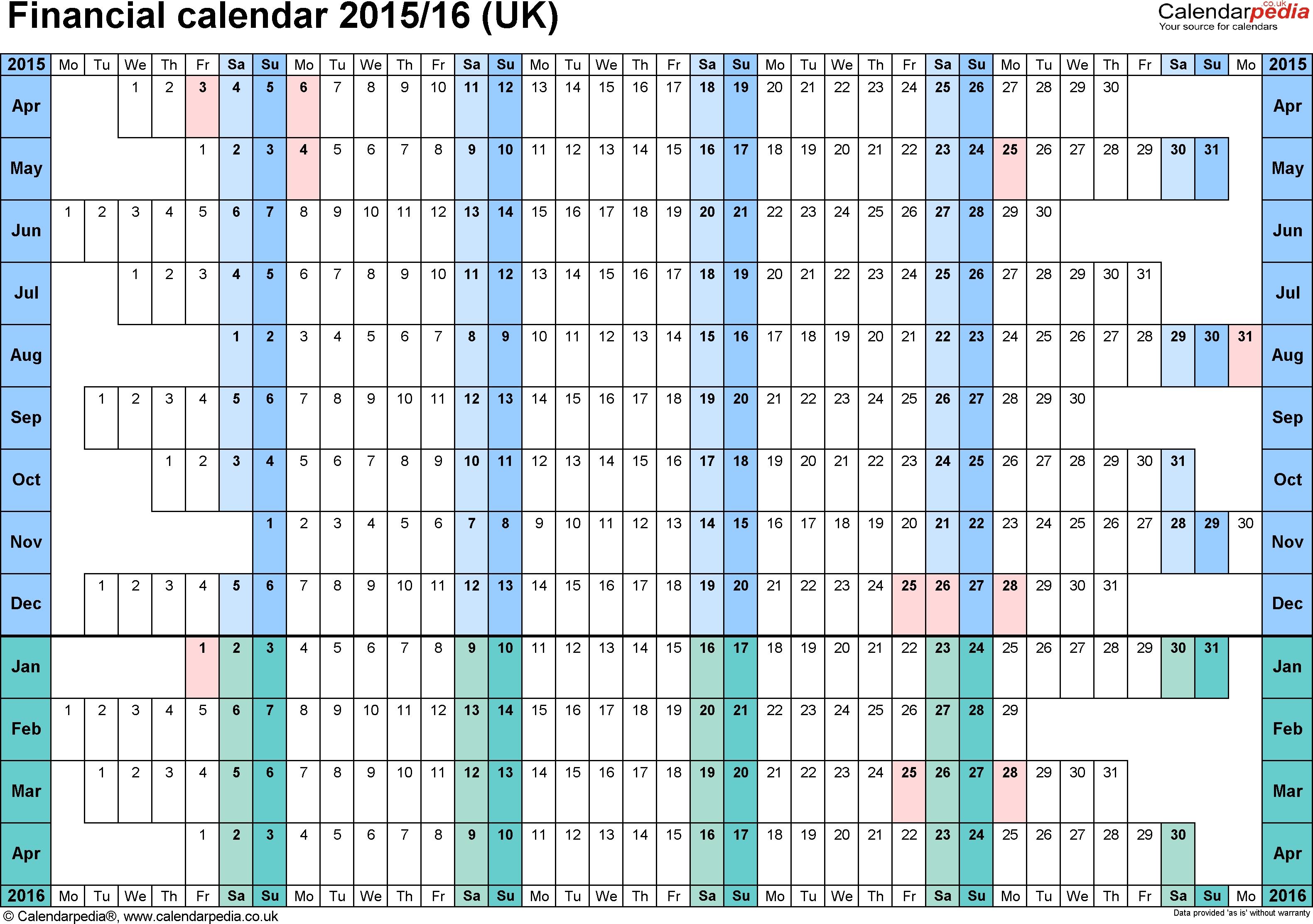 Financial Calendars 2015/16 (Uk) In Pdf Format for Hmrc Calendar 2019 2020