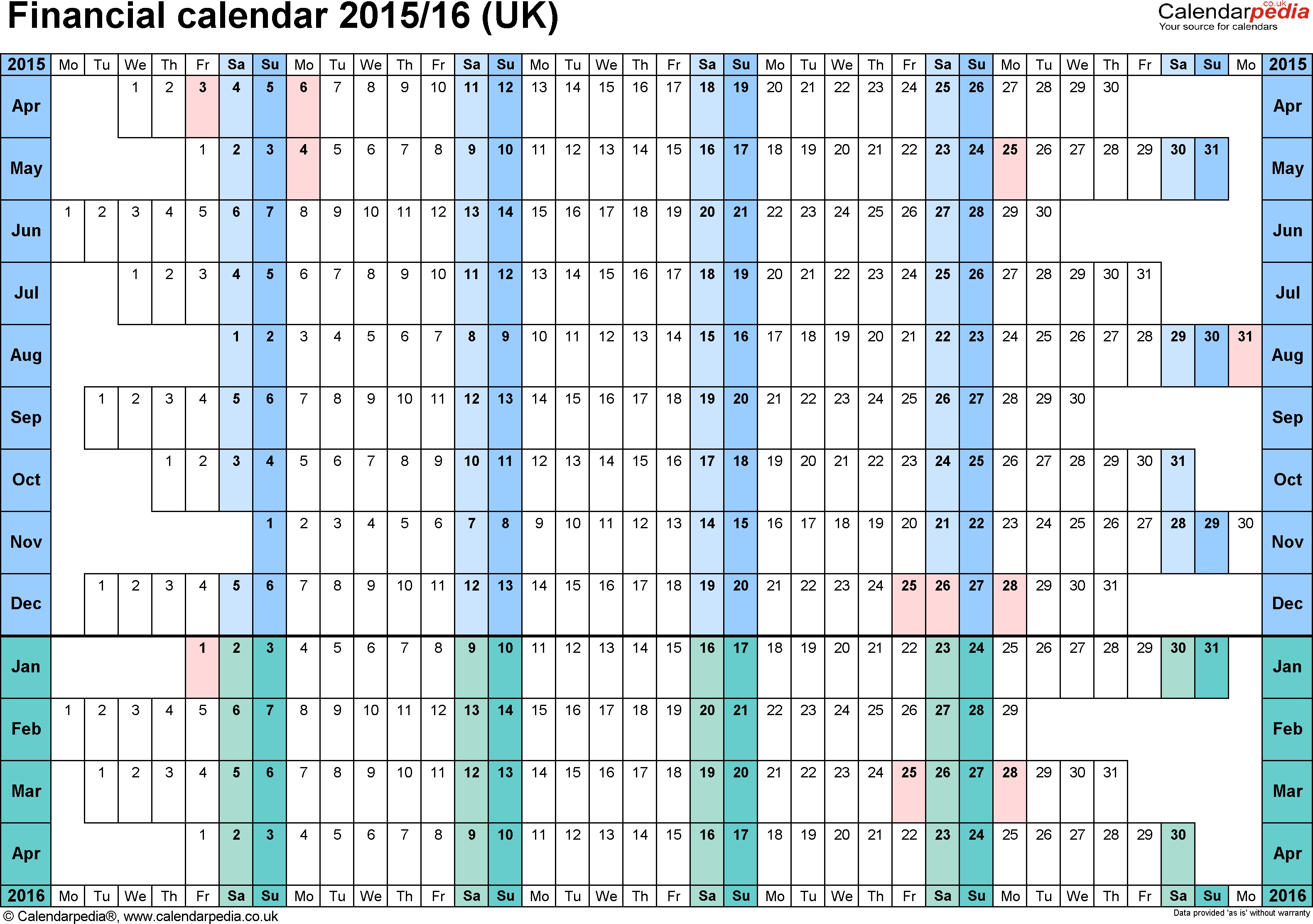 Financial Calendars 2015/16 (Uk) In Pdf Format intended for Hmrc Tax Week Calendar 2019 2020
