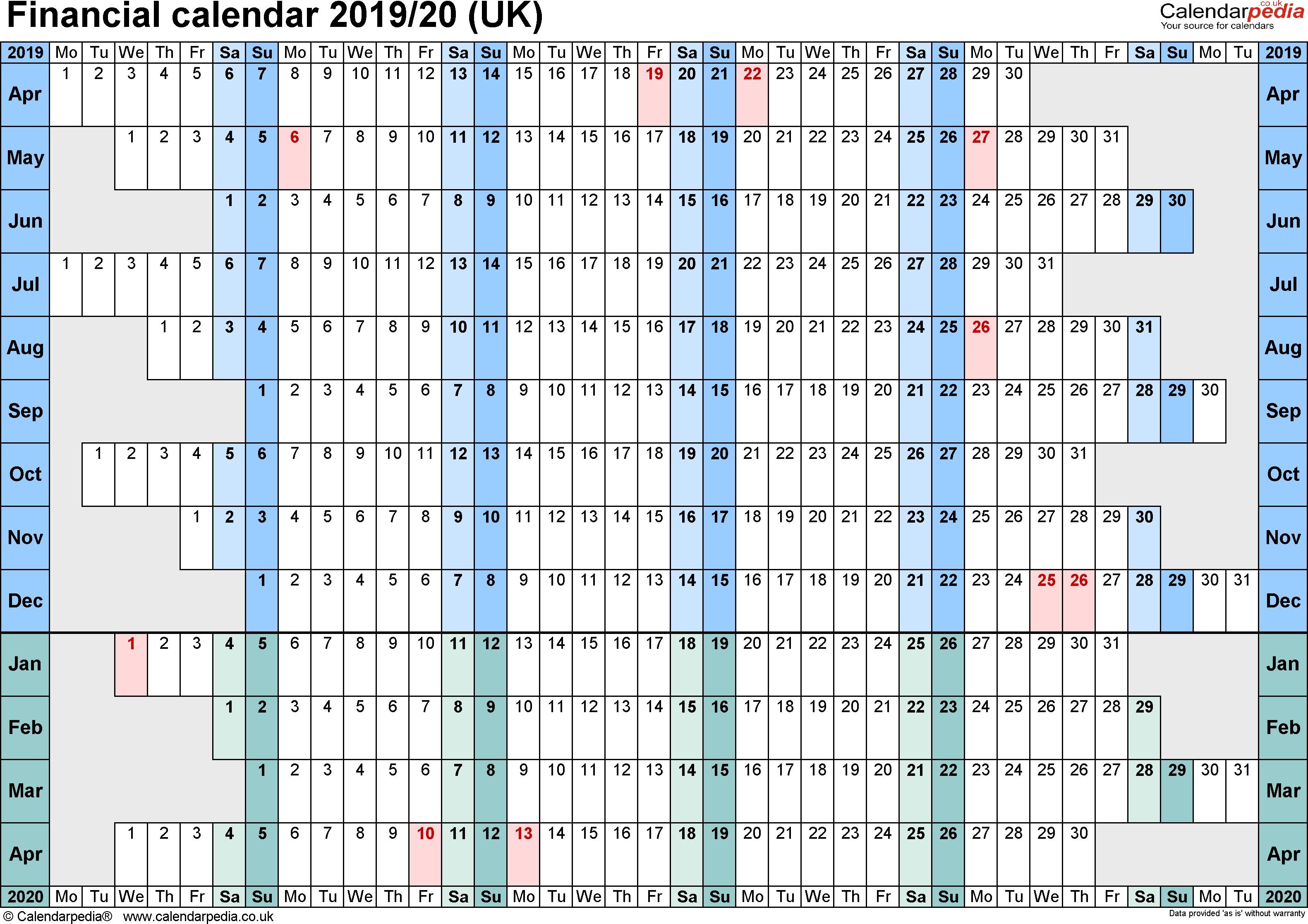 Financial Calendars 2019/20 (Uk) In Microsoft Excel Format in Tax Week Calendar 2019 2020