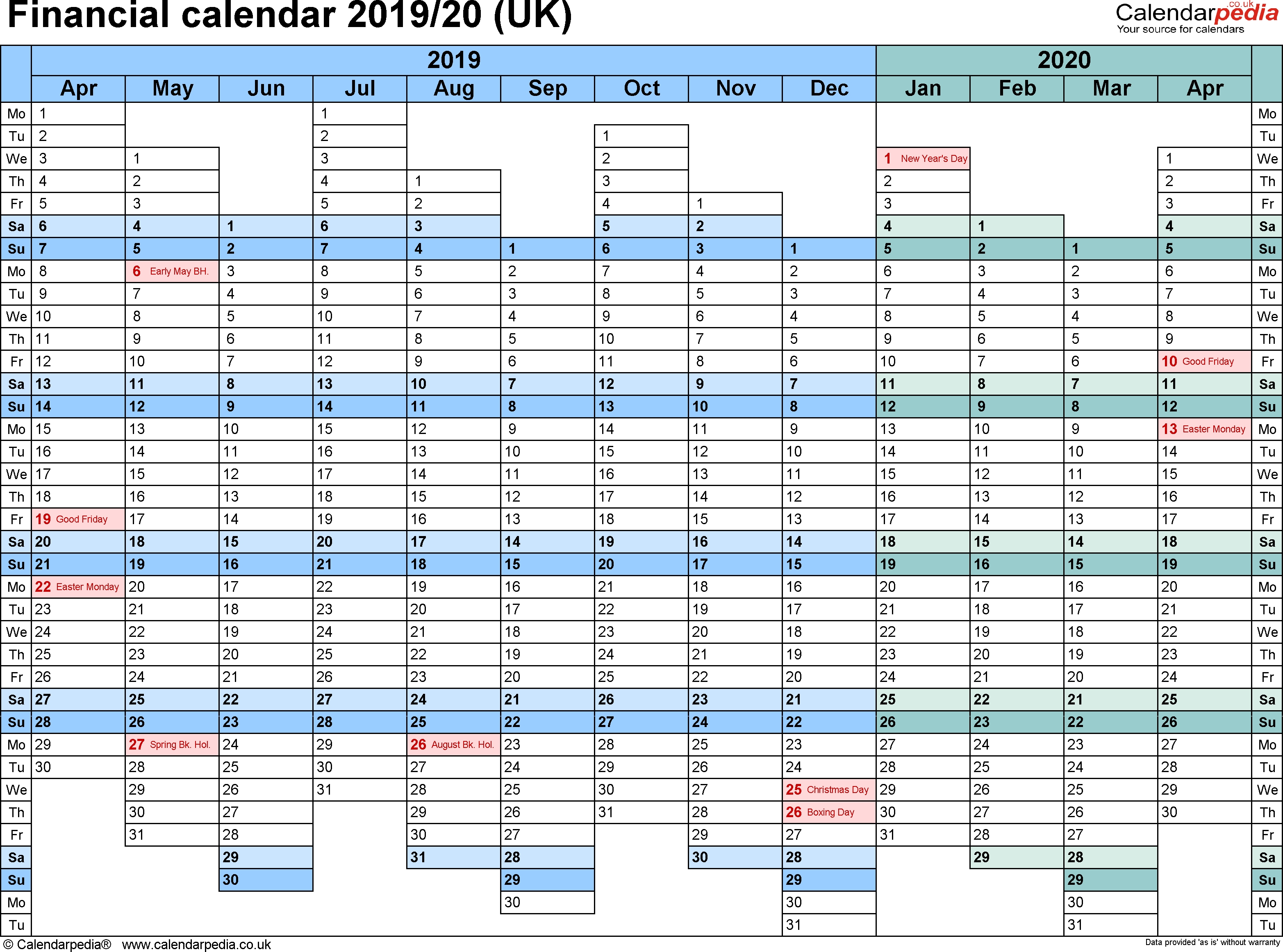 Financial Calendars 2019/20 (Uk) In Pdf Format in Hmrc Tax 2019 - 2020 Calendars