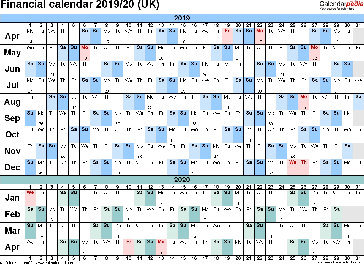Financial Calendars 2019/20 (Uk) In Pdf Format inside Hmrc Tax Weekly Calander 2019-2020