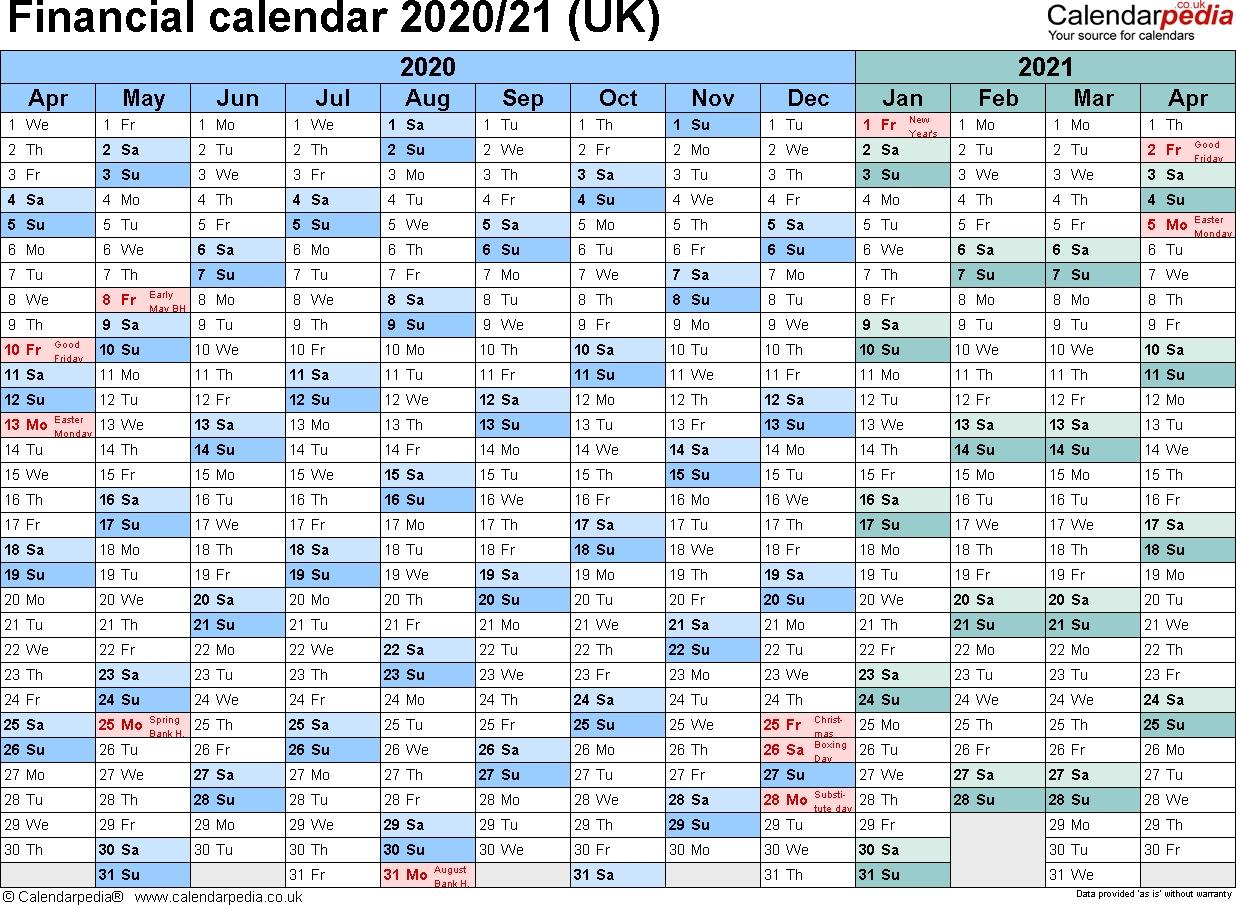 Financial Calendars 2020/21 (Uk) In Pdf Format in Hmrc Calendar 2019 2020
