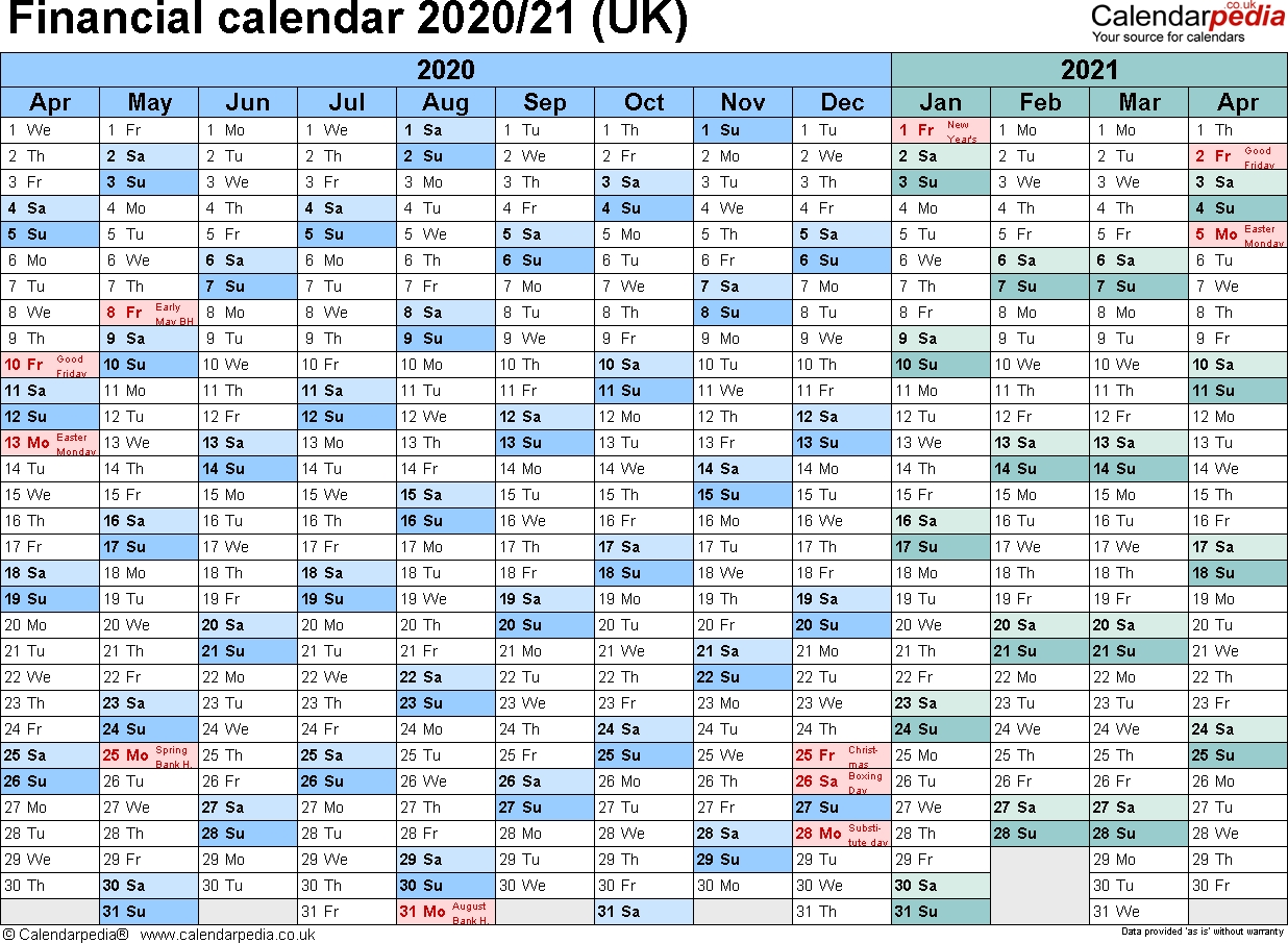 Financial Calendars 2020/21 (Uk) In Pdf Format intended for Hmrc Tax Weekly Calander 2019-2020