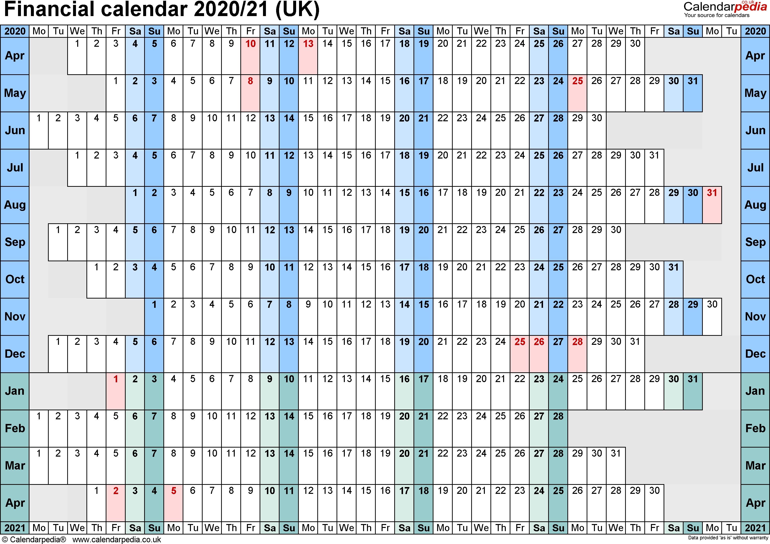 Financial Calendars 2020/21 (Uk) In Pdf Format regarding Hmrc Calendar 2019 2020