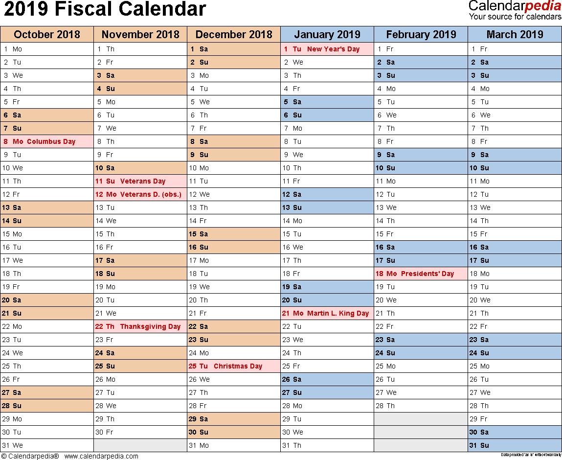 Fiscal Calendars 2019 As Free Printable Pdf Templates in 9/80 2020 Calendar