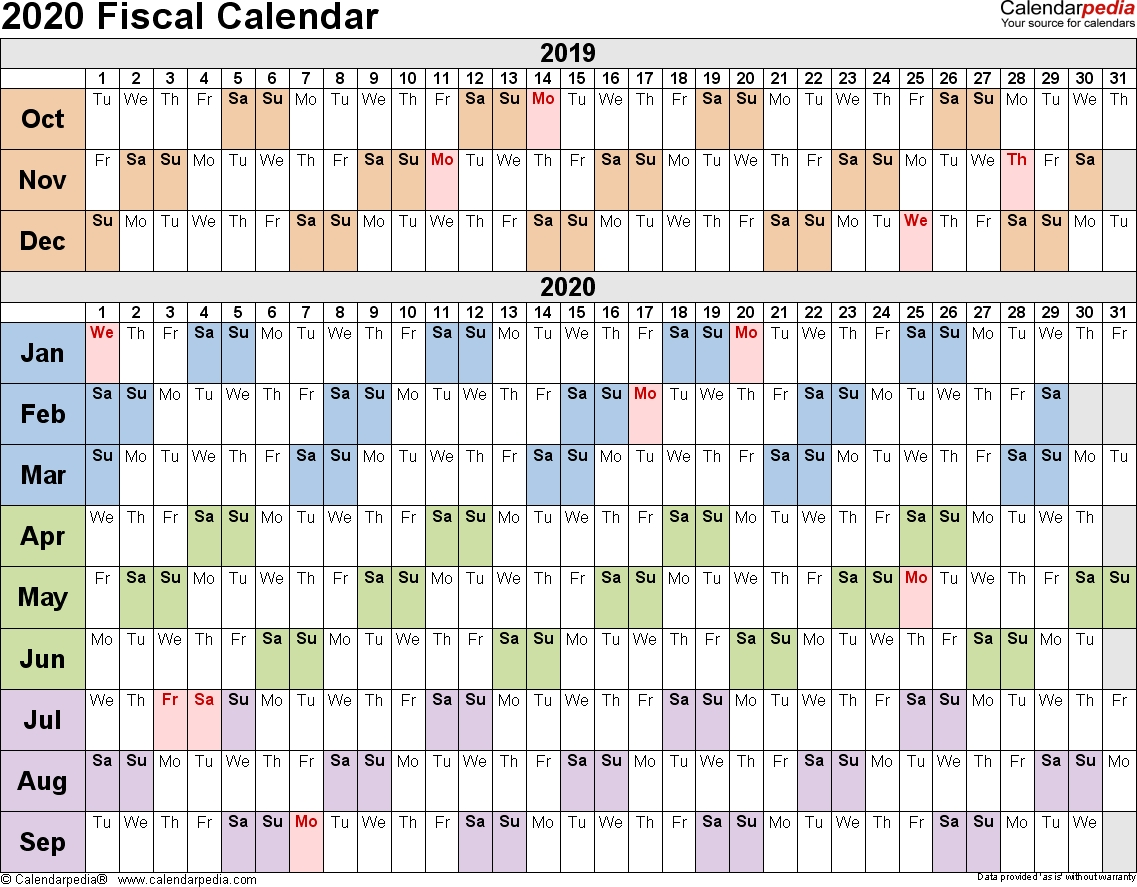 Fiscal Calendars 2020 As Free Printable Pdf Templates in 2019-2020 Tax Calendar Month And Week