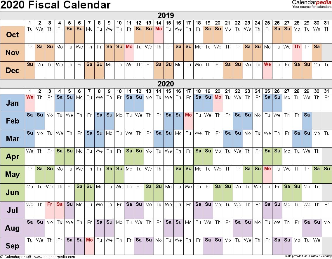 Fiscal Calendars 2020 As Free Printable Pdf Templates in Financial Week Calendar 2019/2020