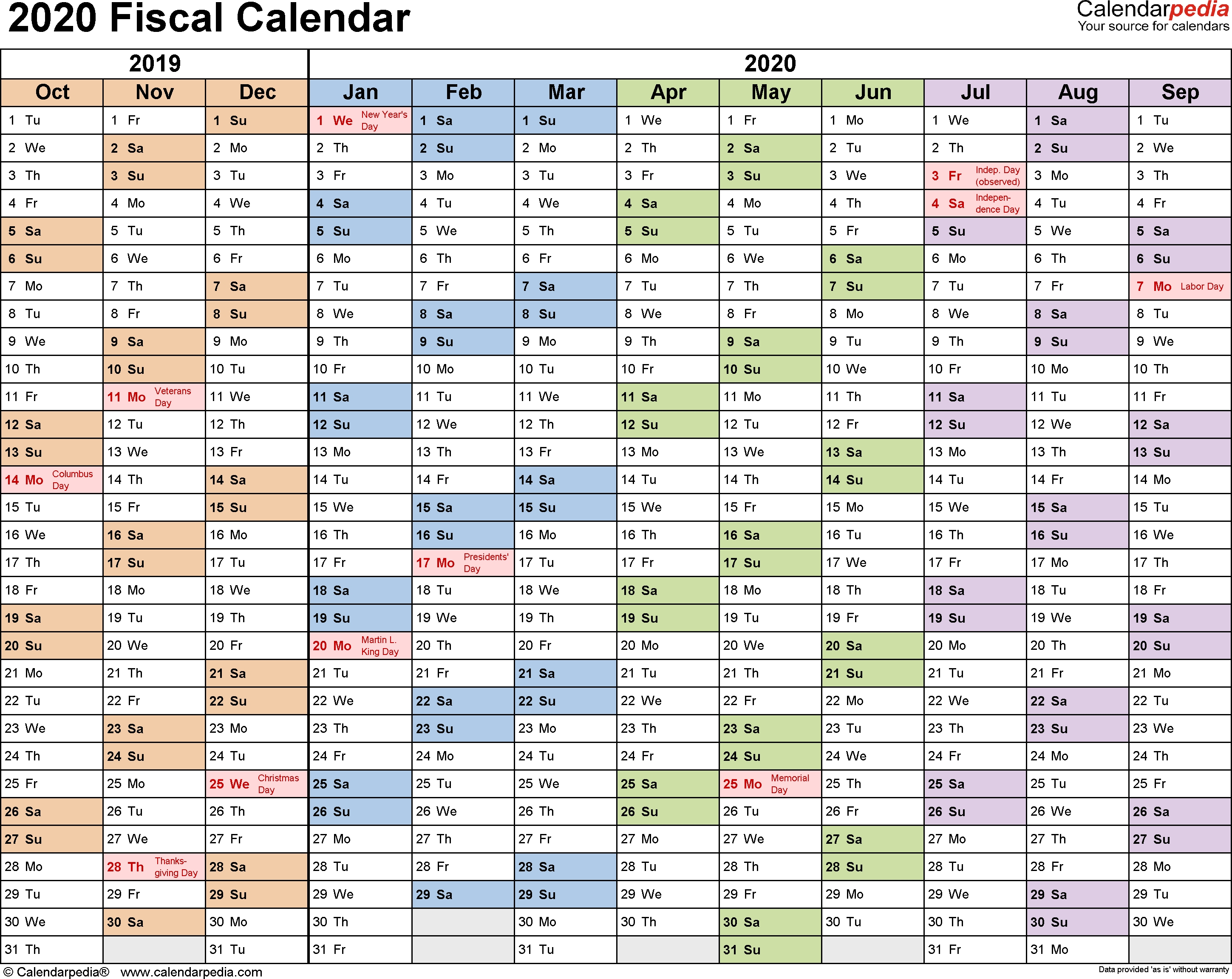 Fiscal Calendars 2020 As Free Printable Pdf Templates intended for Tax Week Calendar 2019 2020