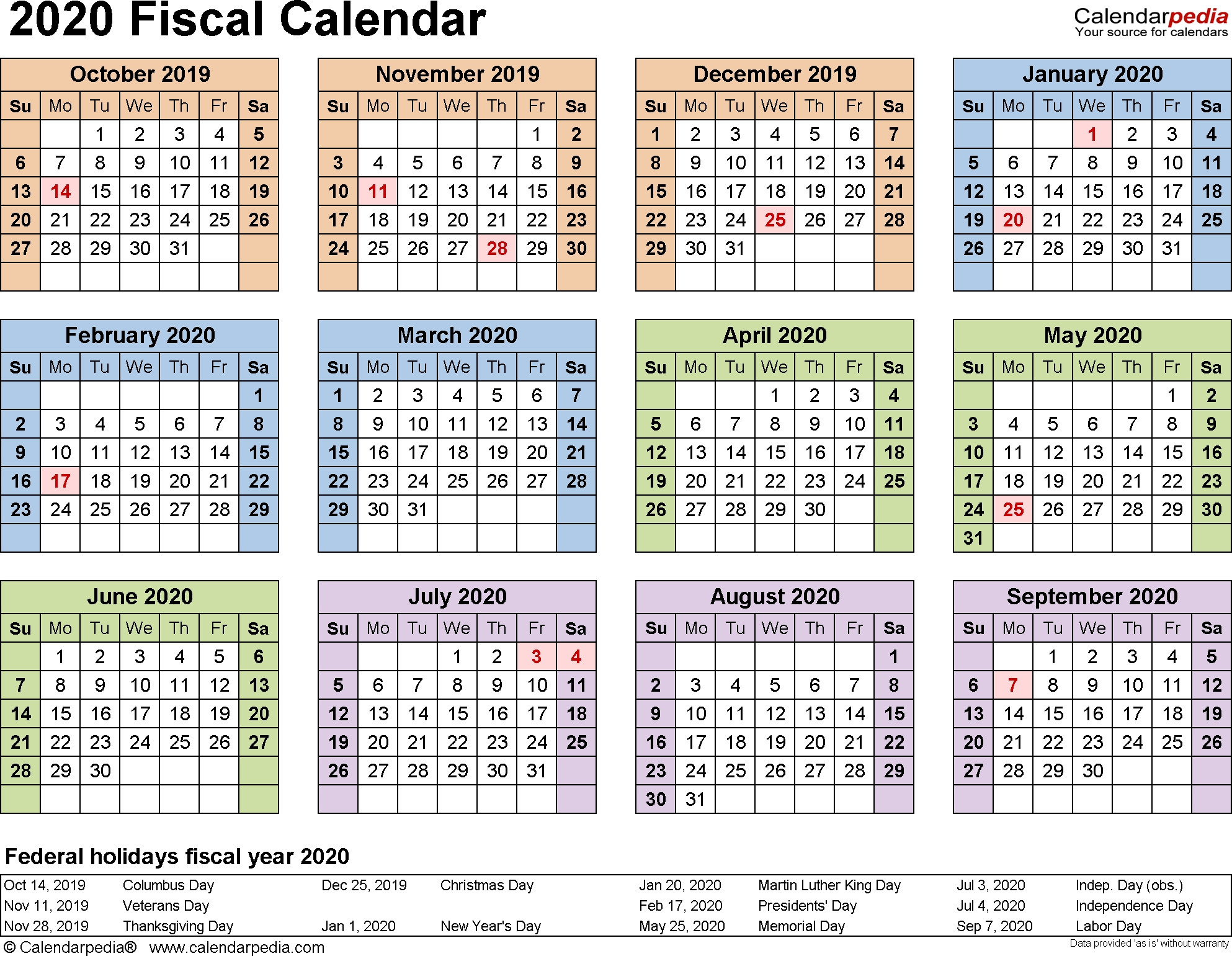 Fiscal Calendars 2020 As Free Printable Pdf Templates regarding Financial Calendar 2019/2020 With Week Numbers