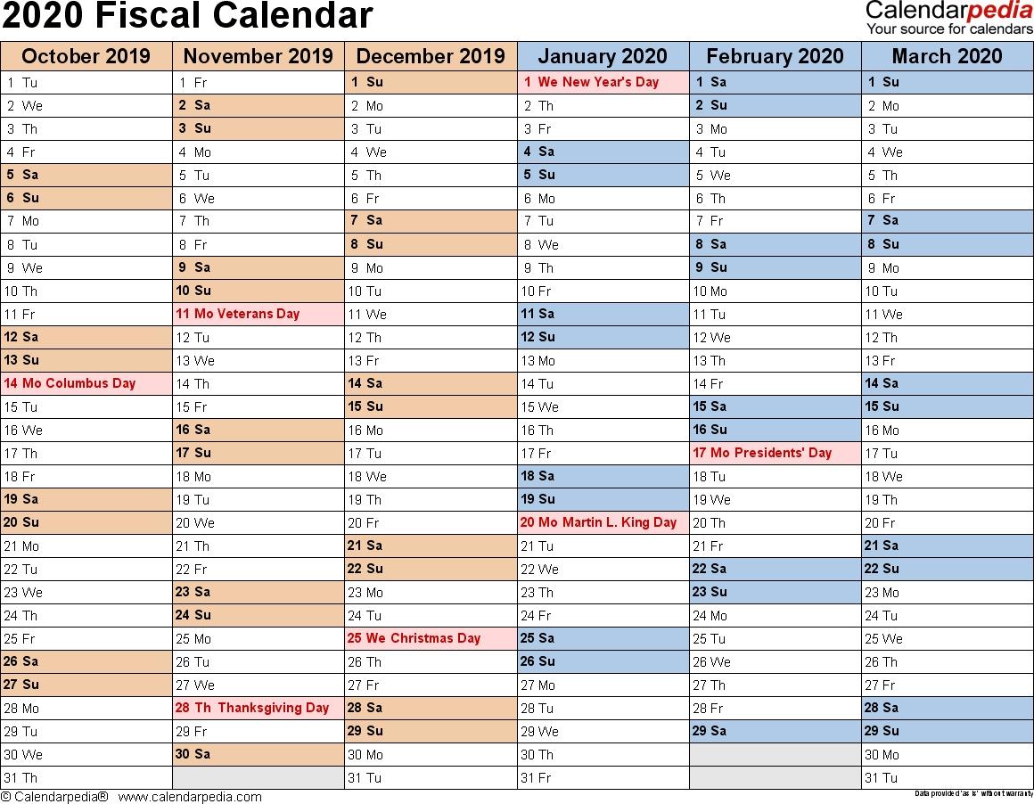Fiscal Calendars 2020 As Free Printable Pdf Templates regarding Print 2019/2020 Financial Year Calendar On One Page