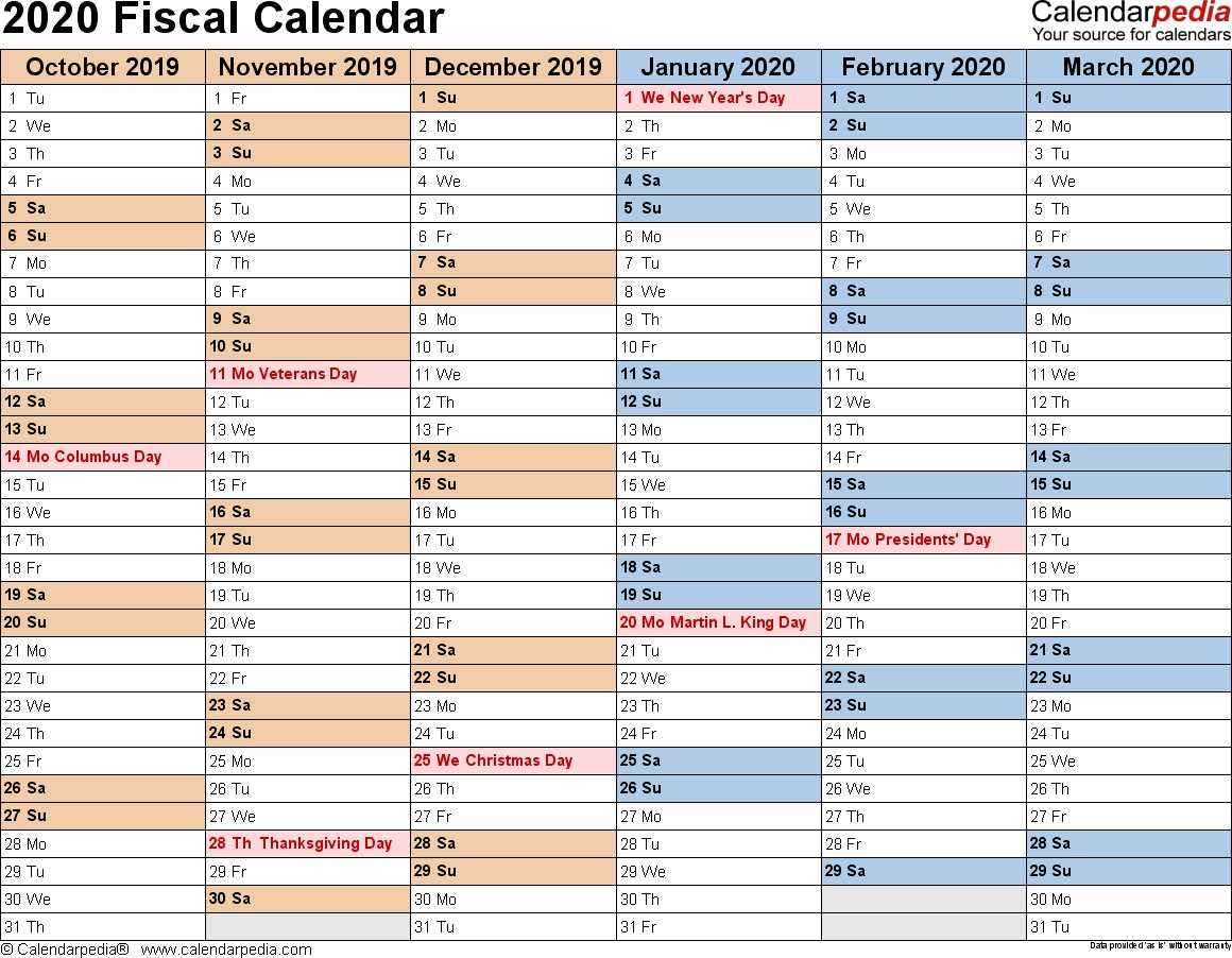 Fiscal Calendars 2020 As Free Printable Pdf Templates with 2019-2020 Tax Calendar Month And Week