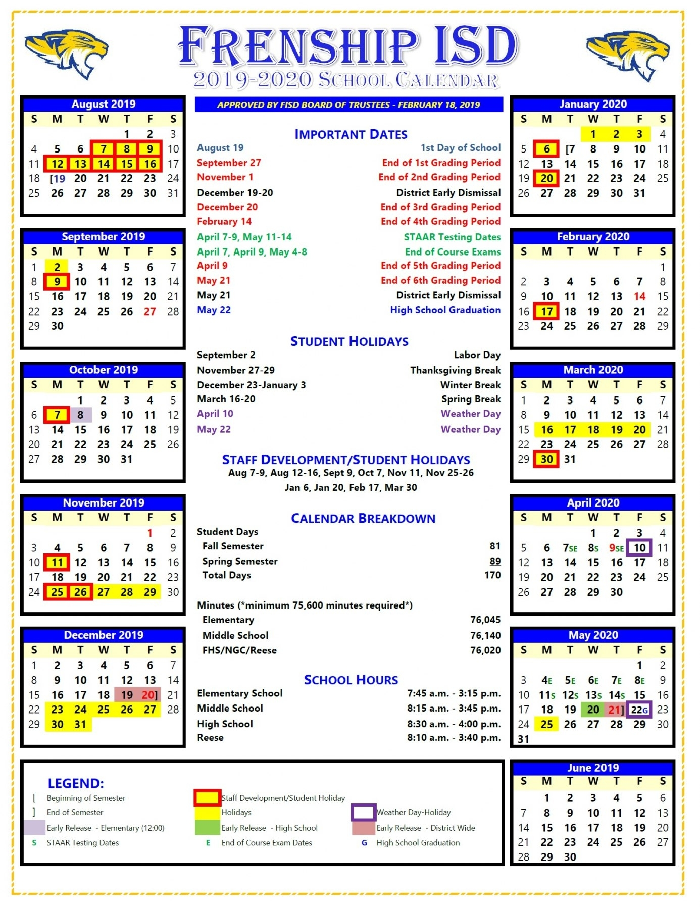 Fisd Board Approves 2019-2020 School Calendar throughout Special Days 2019-2020