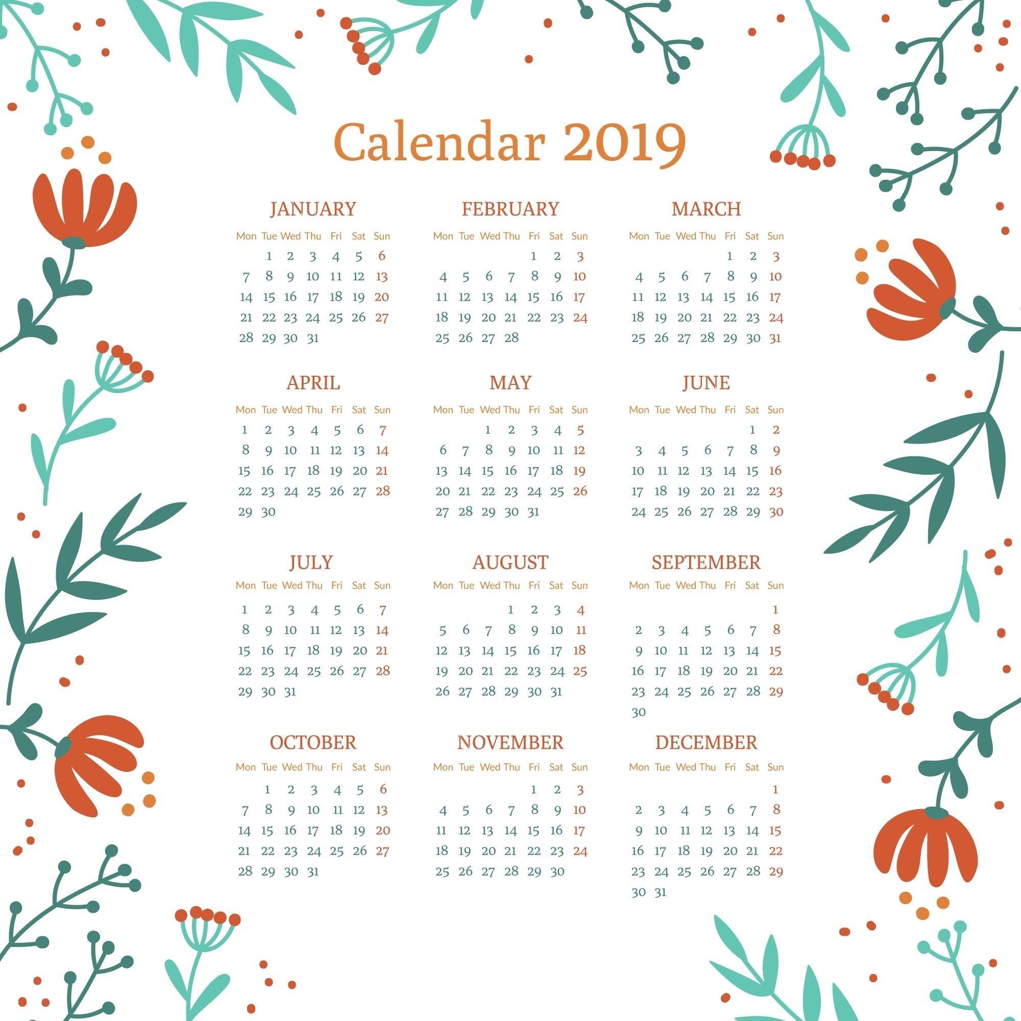 Floral 2019 Printable Calendar #2019Calendar #printablecalendar within 5X 7 Printable 2019-2020