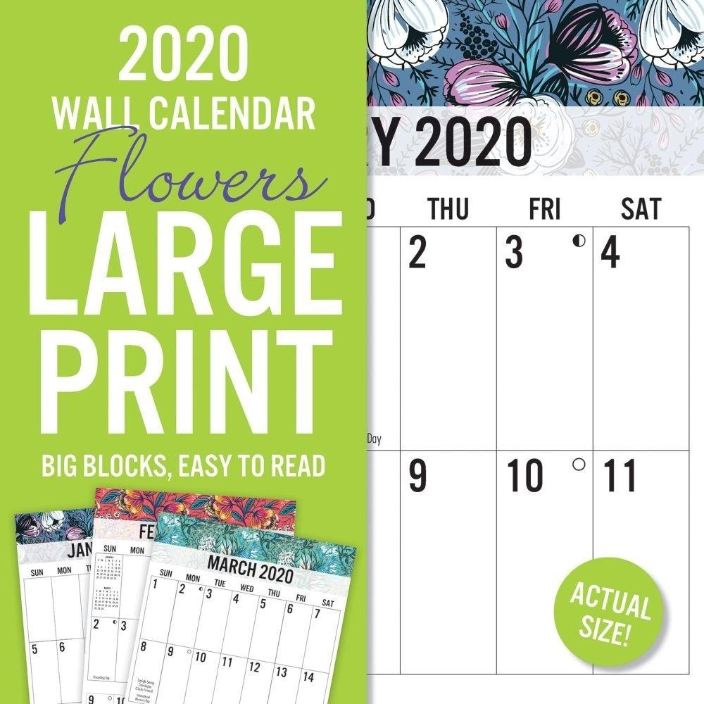 Floral Large Print 2020 Wall Calendar | | Calendars for Large Print 2020 Calendar To Print Free