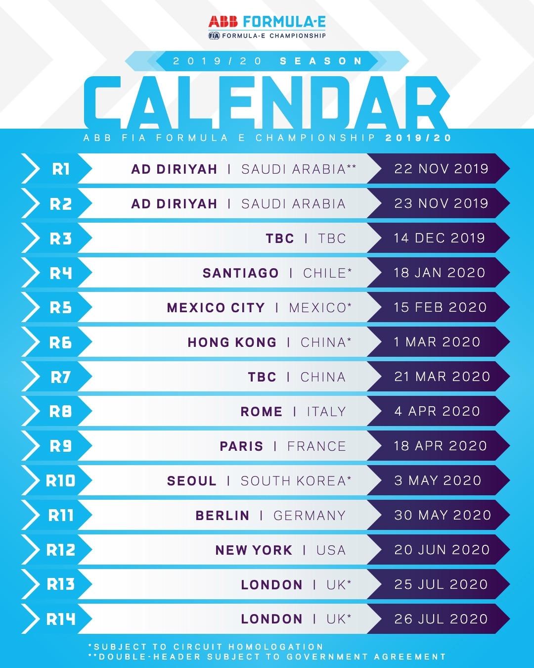 Formula E: Calendar Released For 2019-2020 With London Double-Header inside Formula E 2019 2020 Calendar