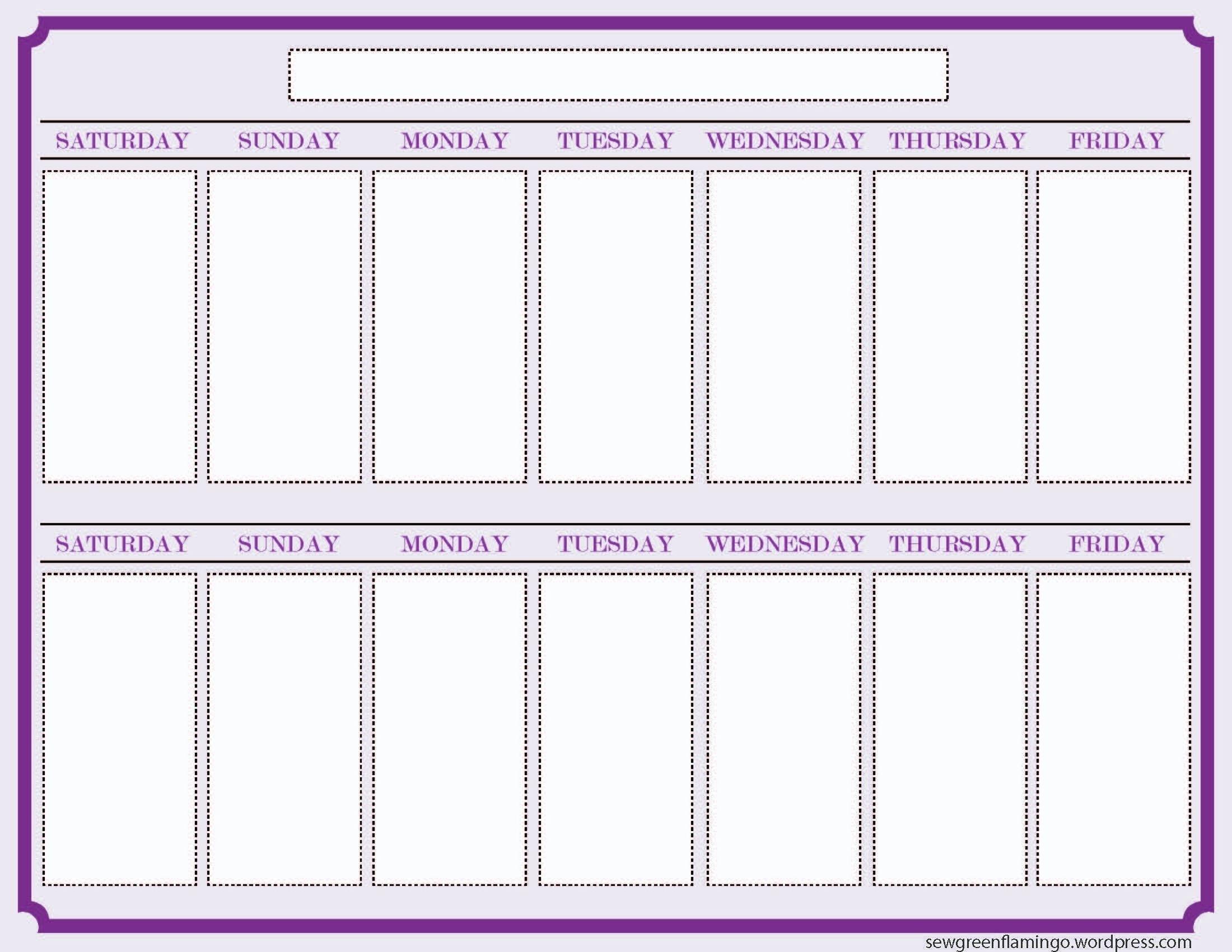 Free 2 Week Blank Printable Calendar Calendar 2018 Design Free 2 throughout 2 Week Blank Calendar Template