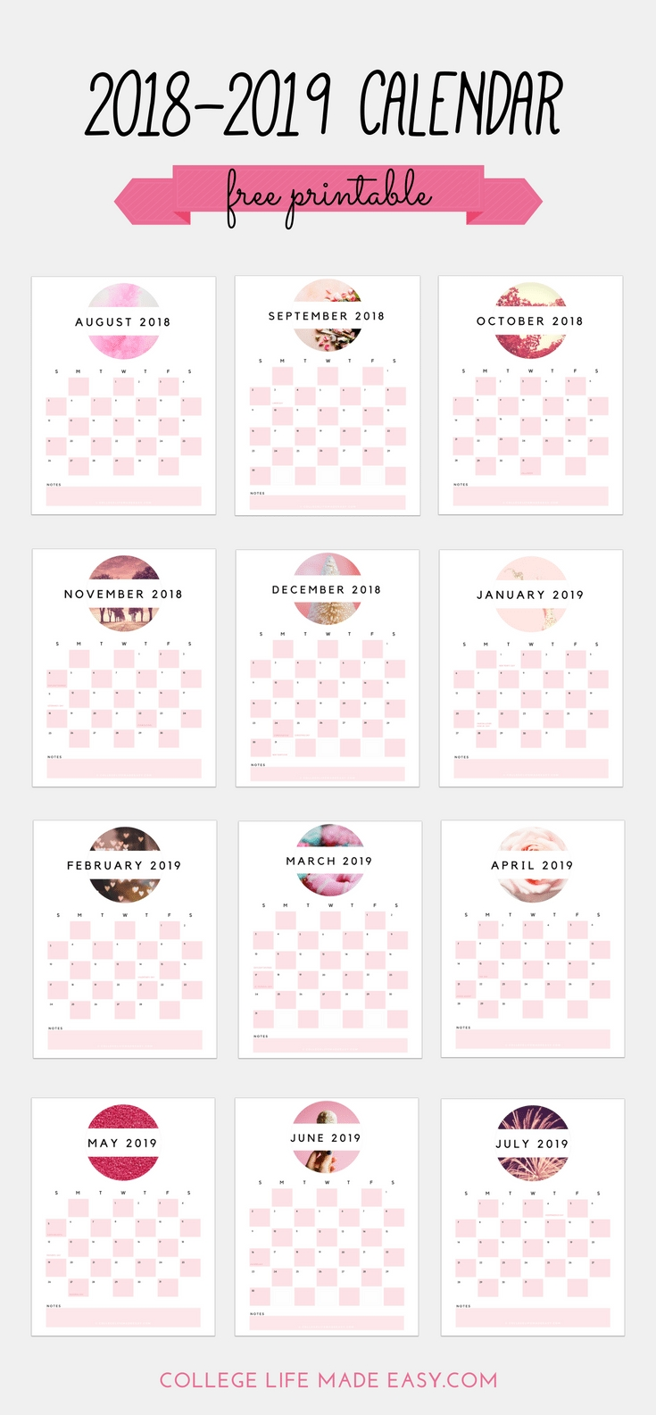 Free 2018 - 2019 Printable Calendar (Cute & In Soft Pink!) within 2019 2020 Girly Calendar Printable
