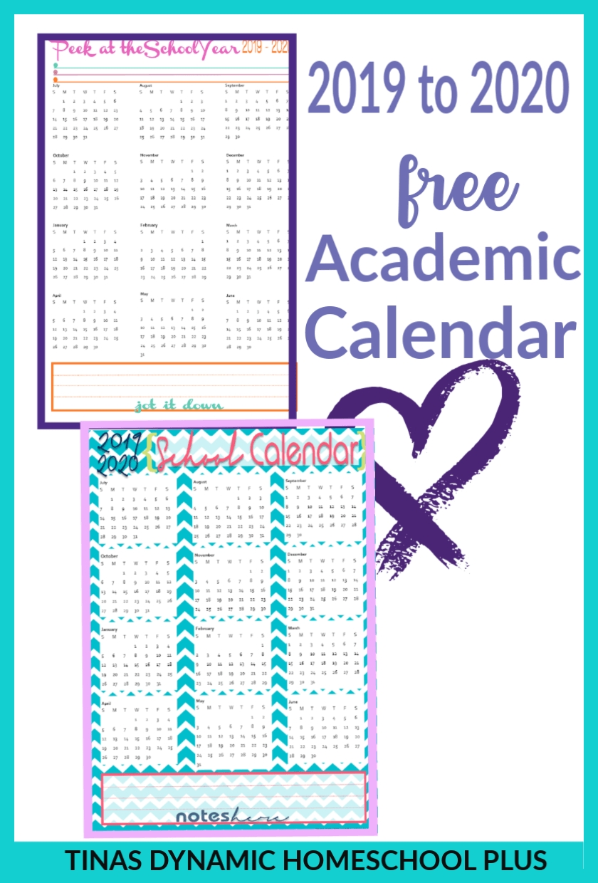 Free 2019-2020 Academic Calendars – Homeschool Planner | :::: Tina's in Homeschool Year At A Glance 2019-2020 Botanical Calendar Printable Free