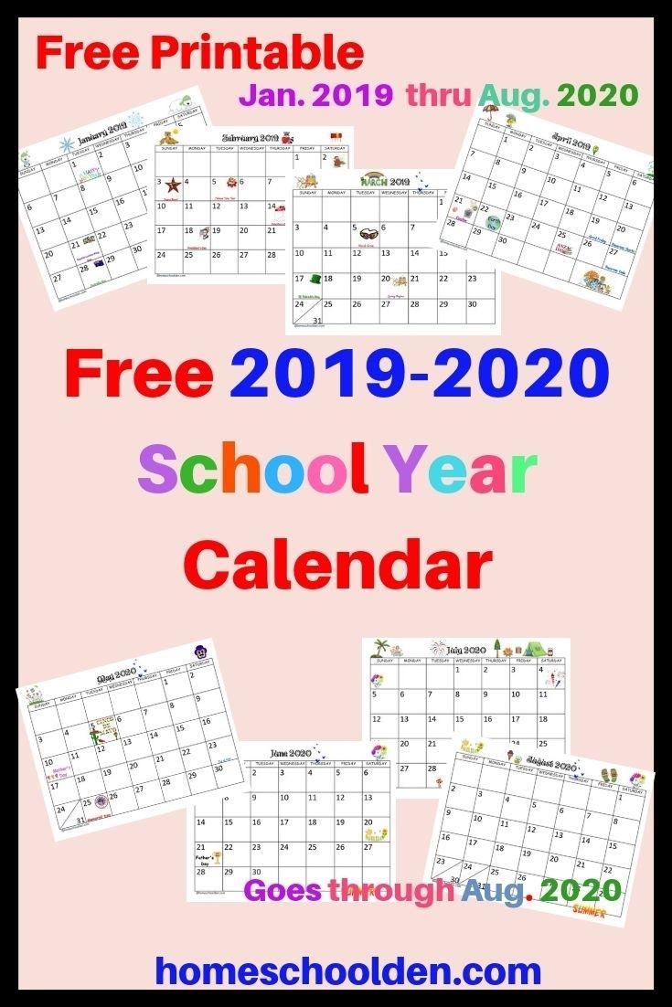 Free 2019-2020 Calendar Printable This Free Calendar Printable intended for Free Printable Homeschool Calendar 2019-2020 Year At A Glance