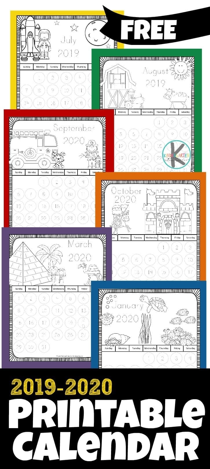 Free 2019-2020 Printable Calendar To Color – Kindergarten Worksheets within Printable Coloring Calendar 2019-2020