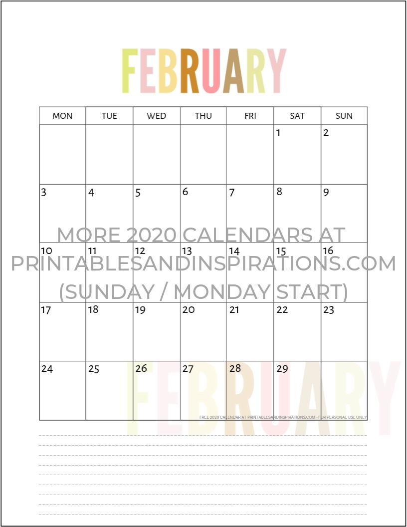 Free 2020 Calendar Printable Planner Pdf | Calendar Printables pertaining to 2020 Calendar Printable Free With Added Oicture
