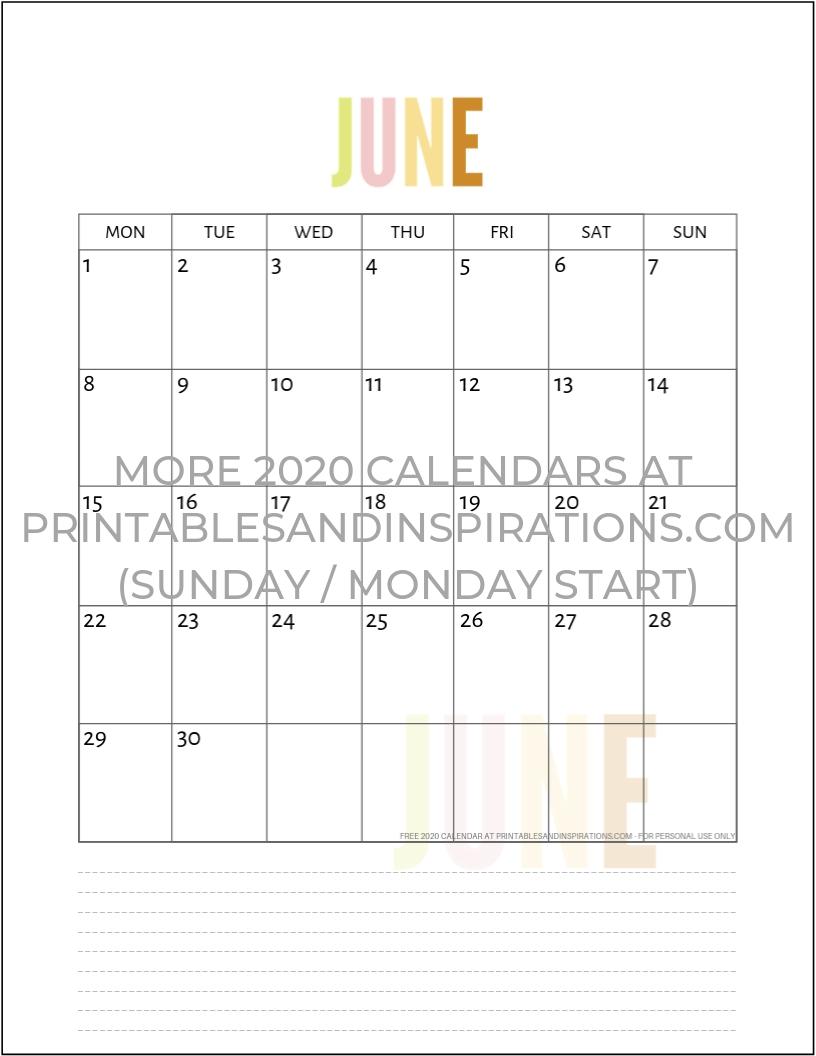 "Free 2020 Calendar Printable Planner Pdf | Inspiration | Printable inside 11"" X 8.5"" Calendar Pages 2020 Free"