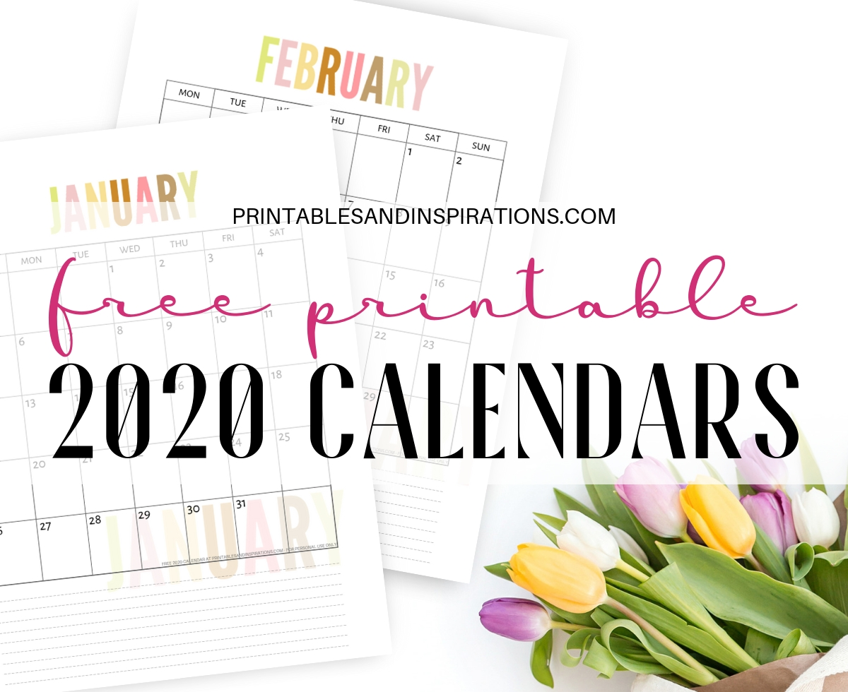 Free 2020 Calendar Printable Planner Pdf - Printables And Inspirations for Pretty Printable Calendar 2020 Without Download
