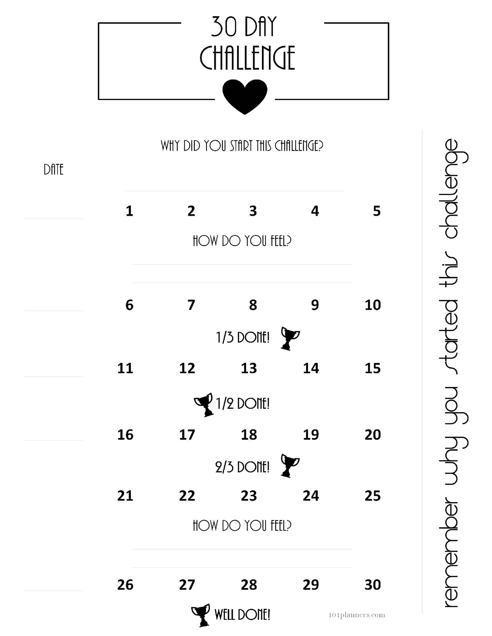 Free 30 Day Challenge Calendar throughout Free Printable 30 Day Calendars