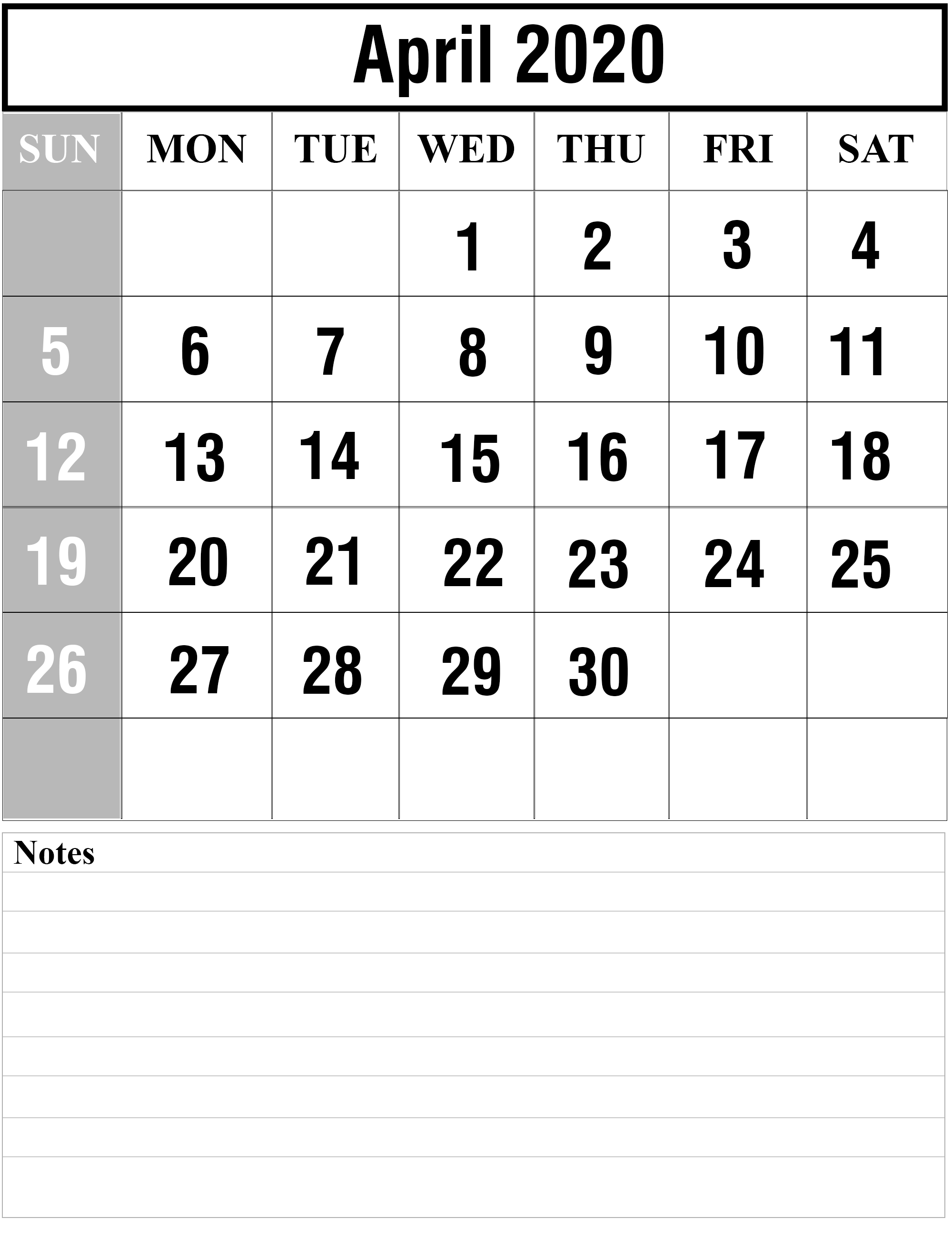 Free April 2020 Printable Calendar Template With Holidays [Pdf intended for Calendar 2020 Excell Romania