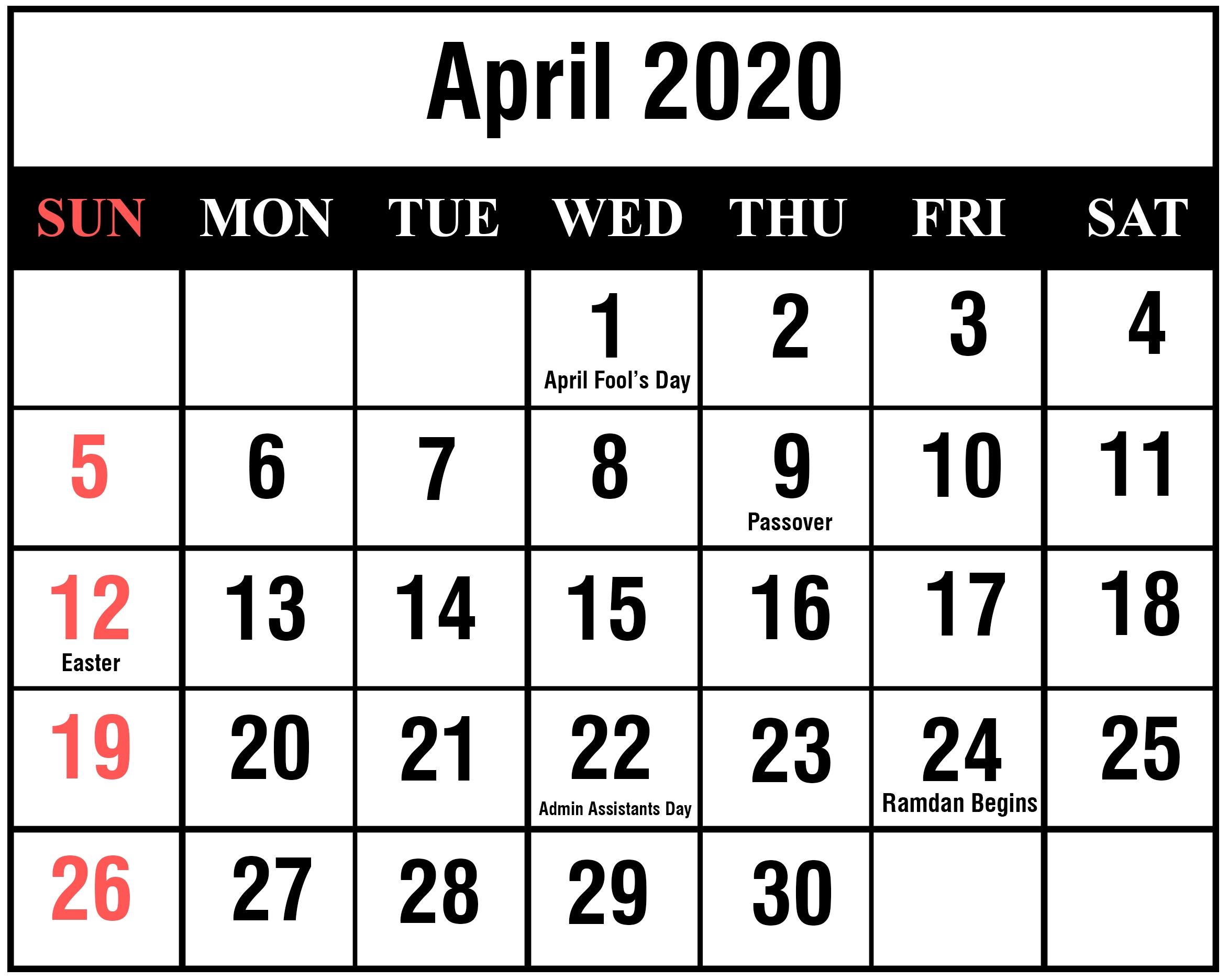 Free April 2020 Printable Calendar Template With Holidays [Pdf regarding Calendar 2020 Excell Romania