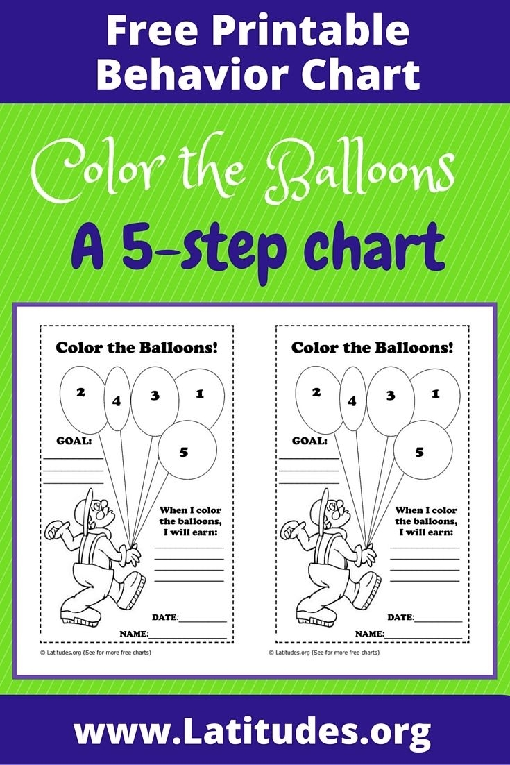Free Behavior Chart (Color The Balloons) | Pbis | Free Printable in Free Printable Behavior Charts Pbis