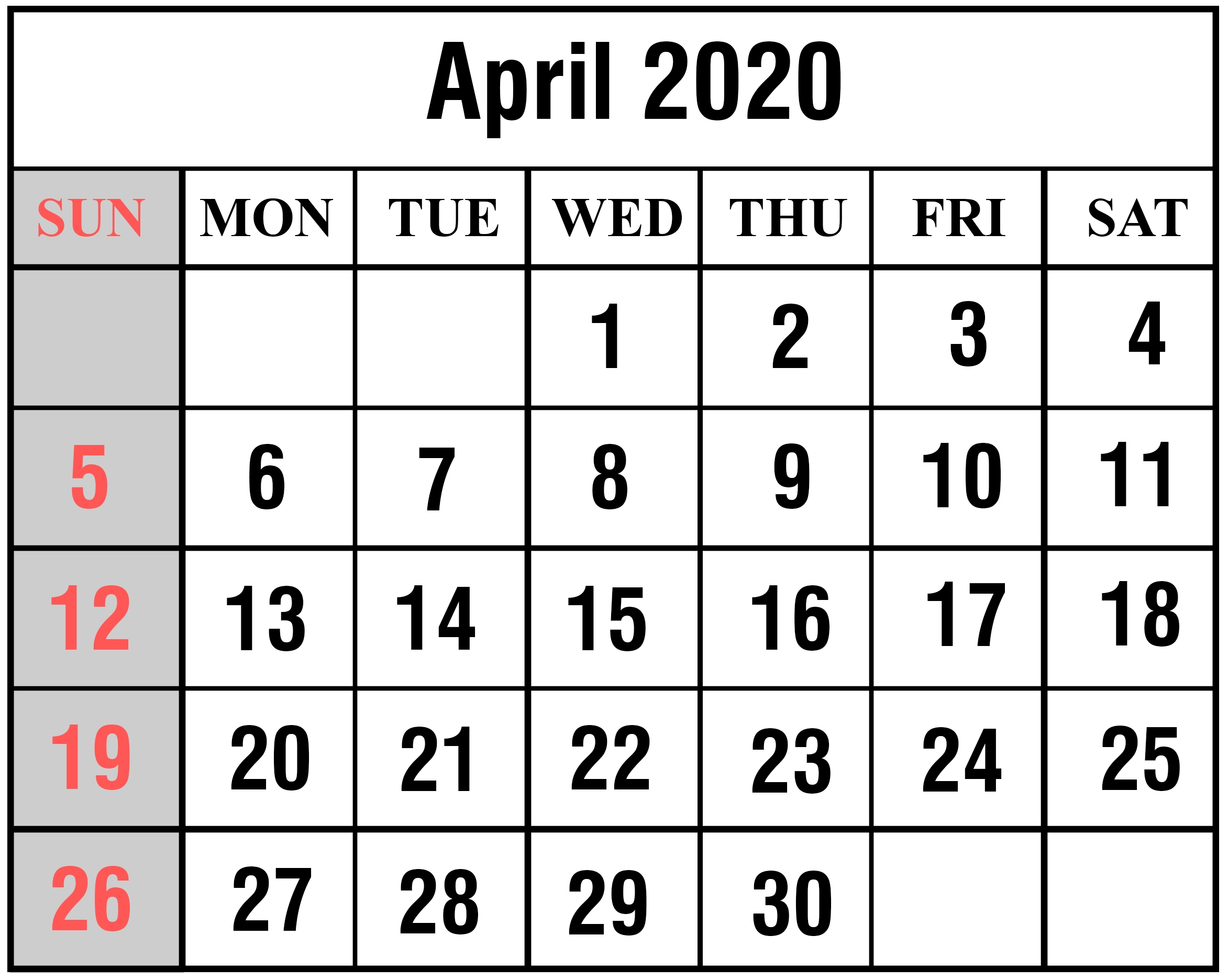 Free Blank April 2020 Printable Calendar [Pdf, Excel & Word inside 2020 Calendar With Space To Write
