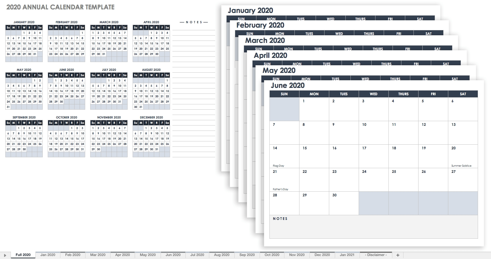 Free Blank Calendar Templates - Smartsheet pertaining to Year Calendar 2020 With Space To Write