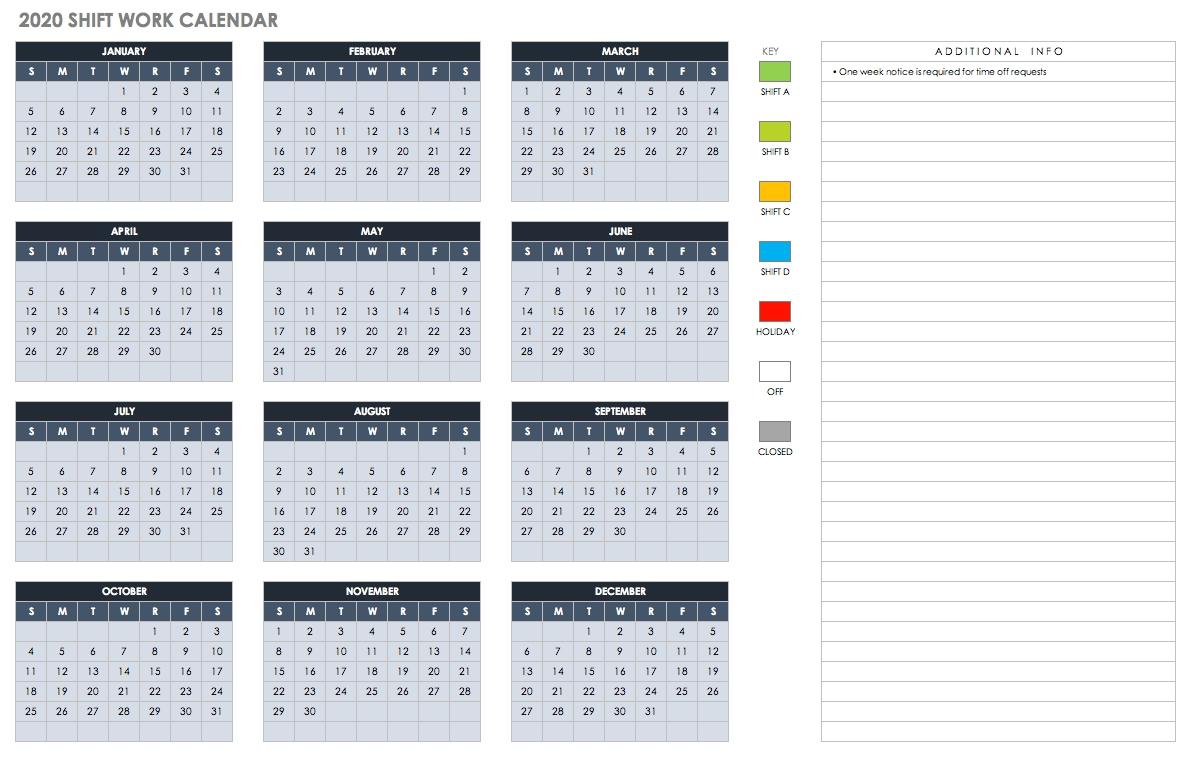 Free Blank Calendar Templates - Smartsheet throughout Employee Attendance Calendar 2020 Prntable
