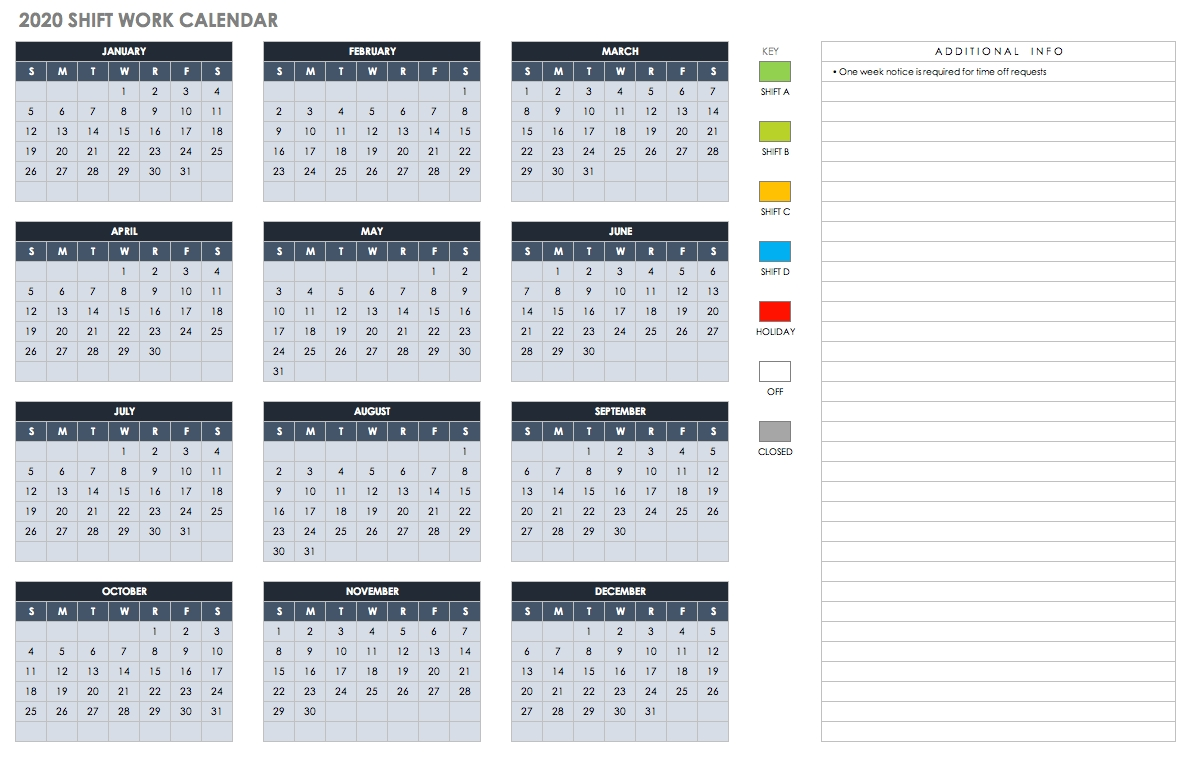 Free Blank Calendar Templates - Smartsheet with 2020 Free Printable Emploee Calendars