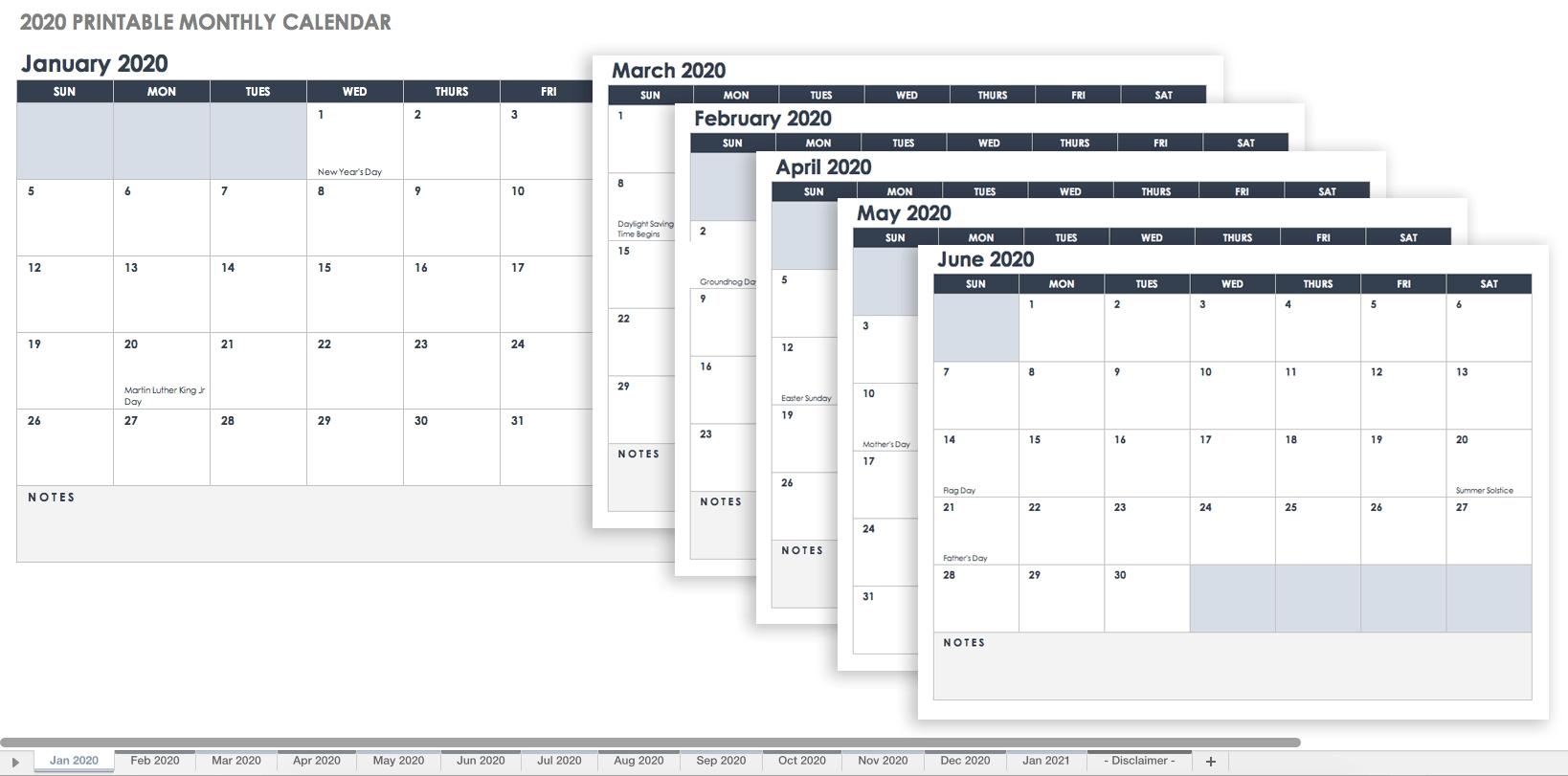 Free Blank Calendar Templates - Smartsheet within 2020 Free Printable Emploee Calendars