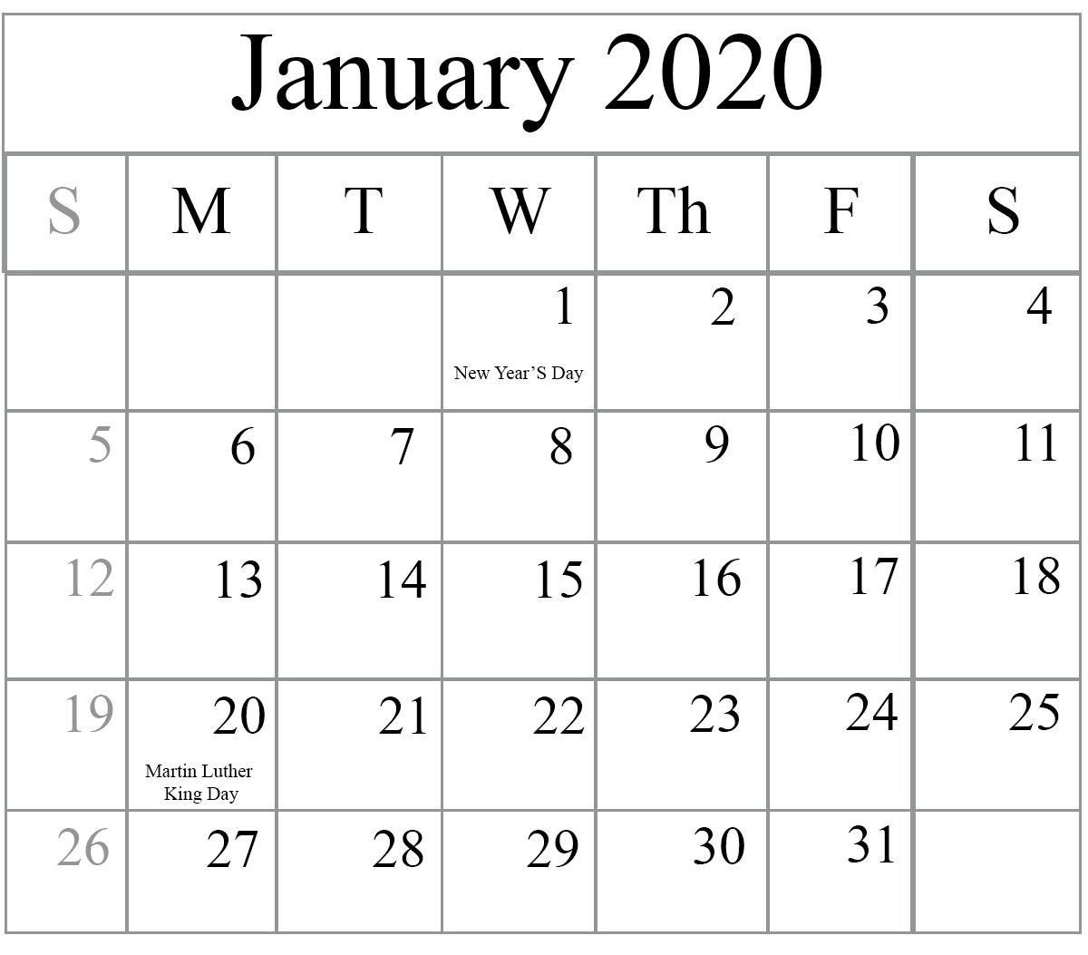 Free Blank January 2020 Calendar Printable In Pdf, Word, Excel regarding Outlook Calendar 2020