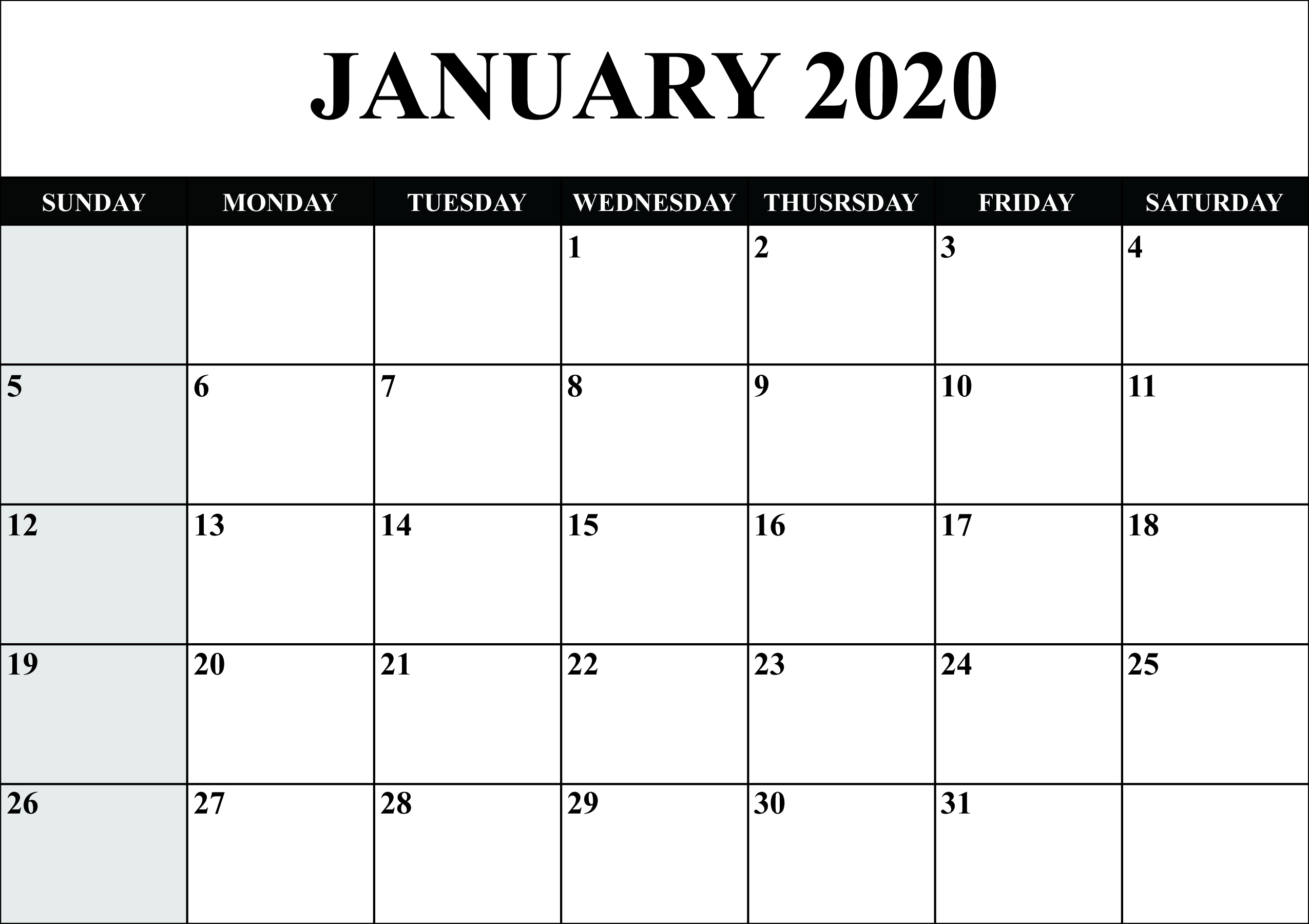 Free Blank January 2020 Calendar Printable In Pdf, Word, Excel with regard to Outlook Calendar 2020