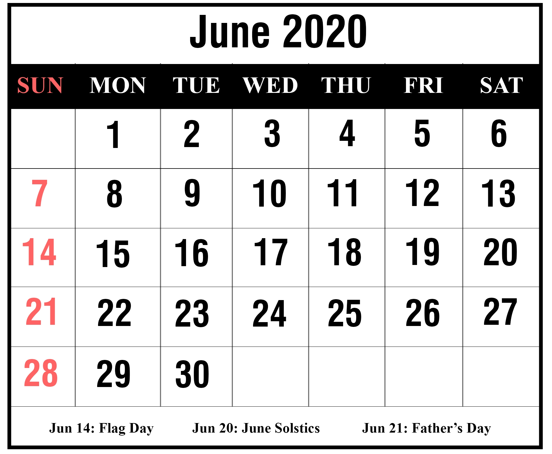Free Blank June 2020 Printable Calendar With Holidays [Pdf, Excel inside Free Printable 2020 Calendar With Space To Write