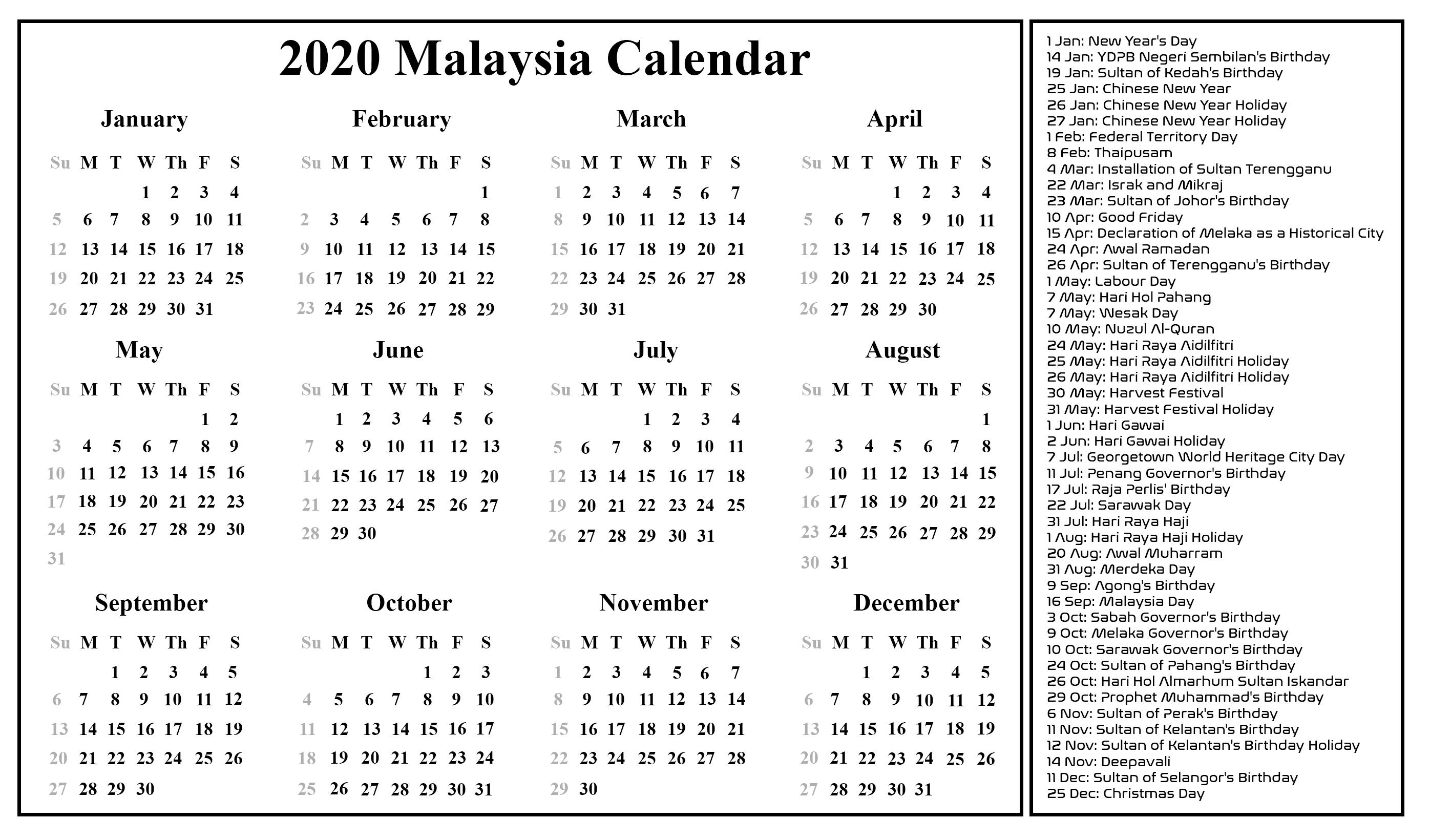 Free Blank Malaysia Calendar 2020 In Pdf, Excel & Word Format inside Malaysia 2020 Calendar