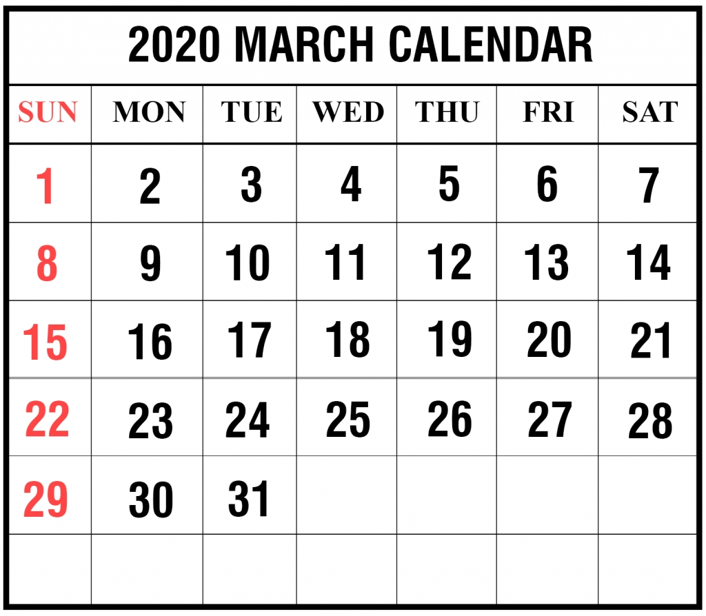 Free Blank March 2020 Calendar Printable In Pdf, Word, Excel with National Day Calendar 2020 Printable