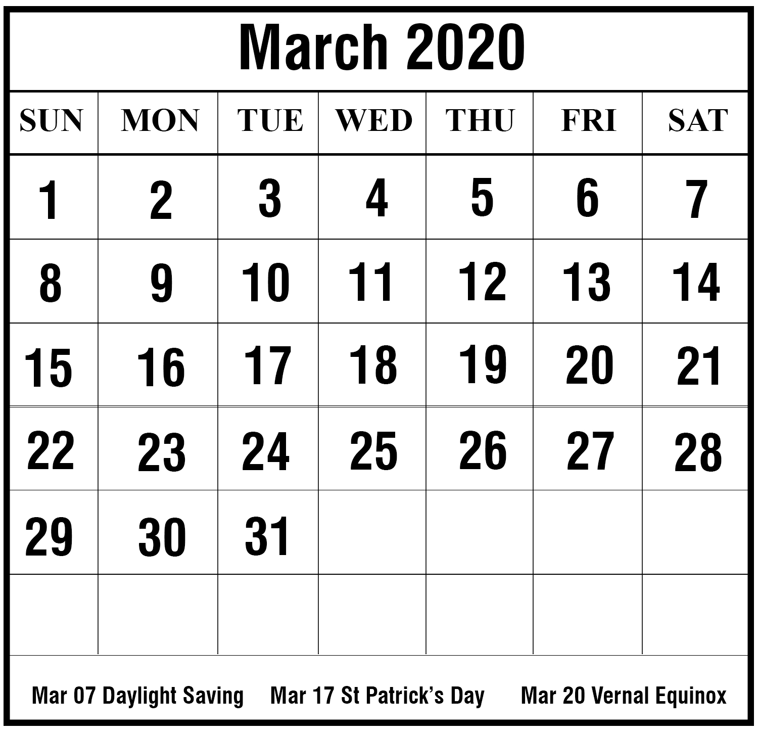 Free Blank March 2020 Printable Calendar Templates {Pdf, Excel, Word within Printable Calendar For 2020 To Type On