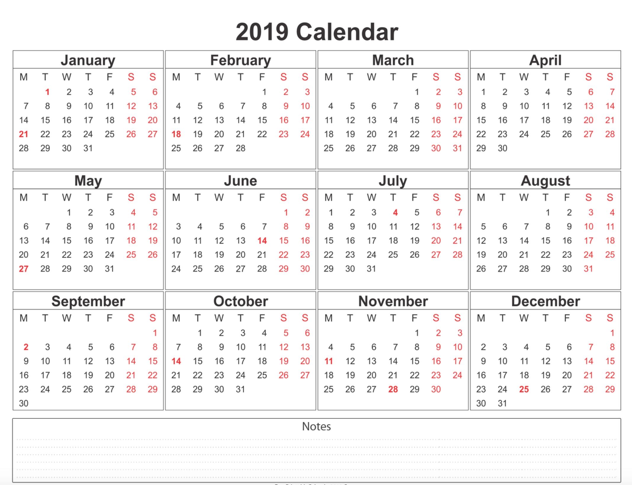 Free Blank Printable Calendar 2019 With Holidays Template Word in Weekly Free Print Calendar 2019 2020
