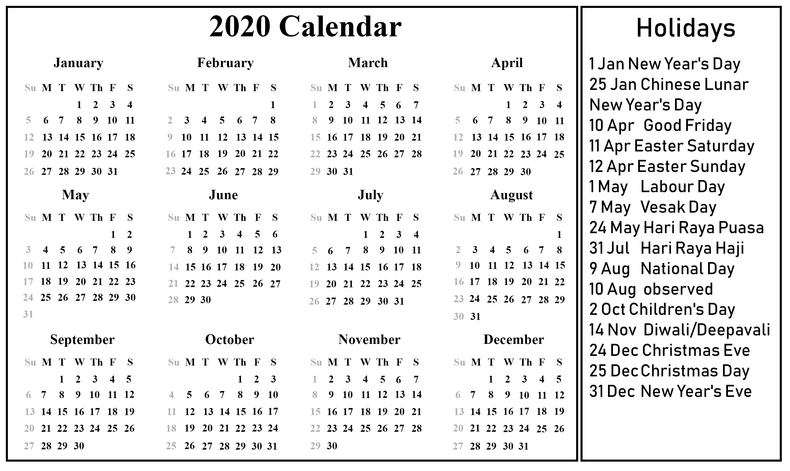 Free Blank Singapore Calendar 2020 [Pdf, Excel & Word] Format within 2020 Calendar Sunday To Saturday