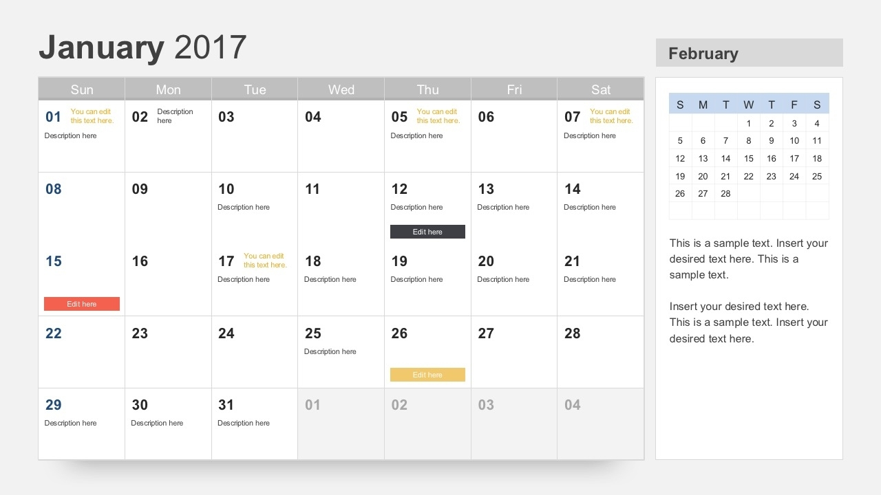 Free Calendar 2017 Template For Powerpoint throughout Free Printable Event Calendar Template