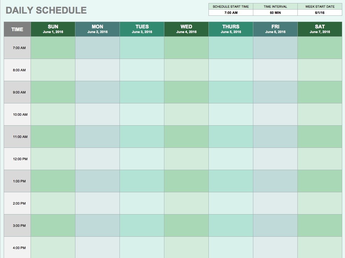 Free Daily Schedule Templates For Excel - Smartsheet intended for Day By Day Schedule Template