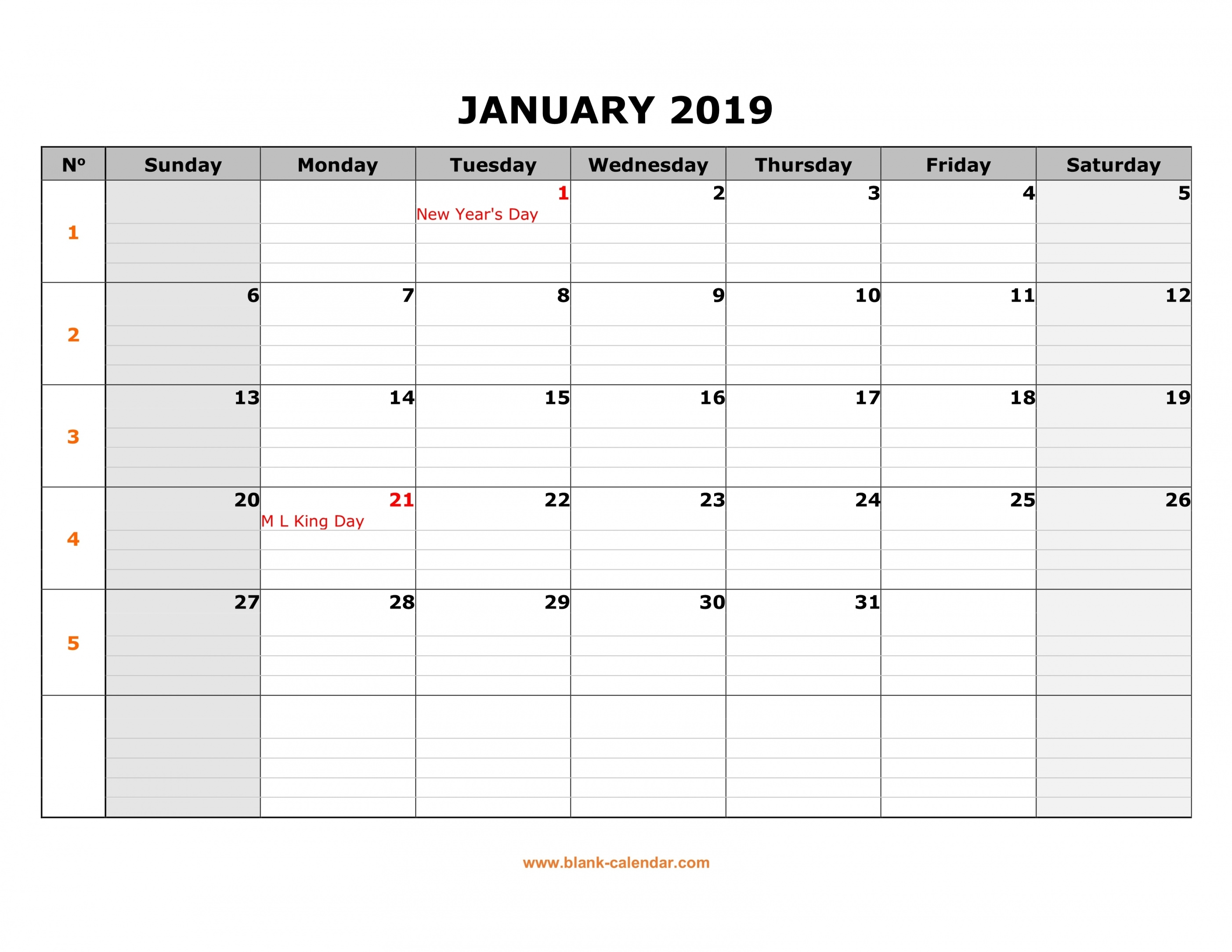 Free Download Printable Calendar 2019, Large Box Grid, Space For inside Large Box Printable Calendar 2020 Google