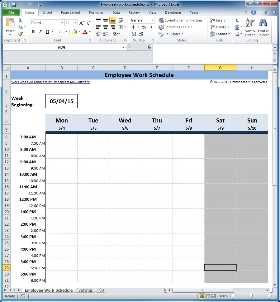 Free Employee And Shift Schedule Templates with Printable Blank Bi-Weekly Employee Schedule