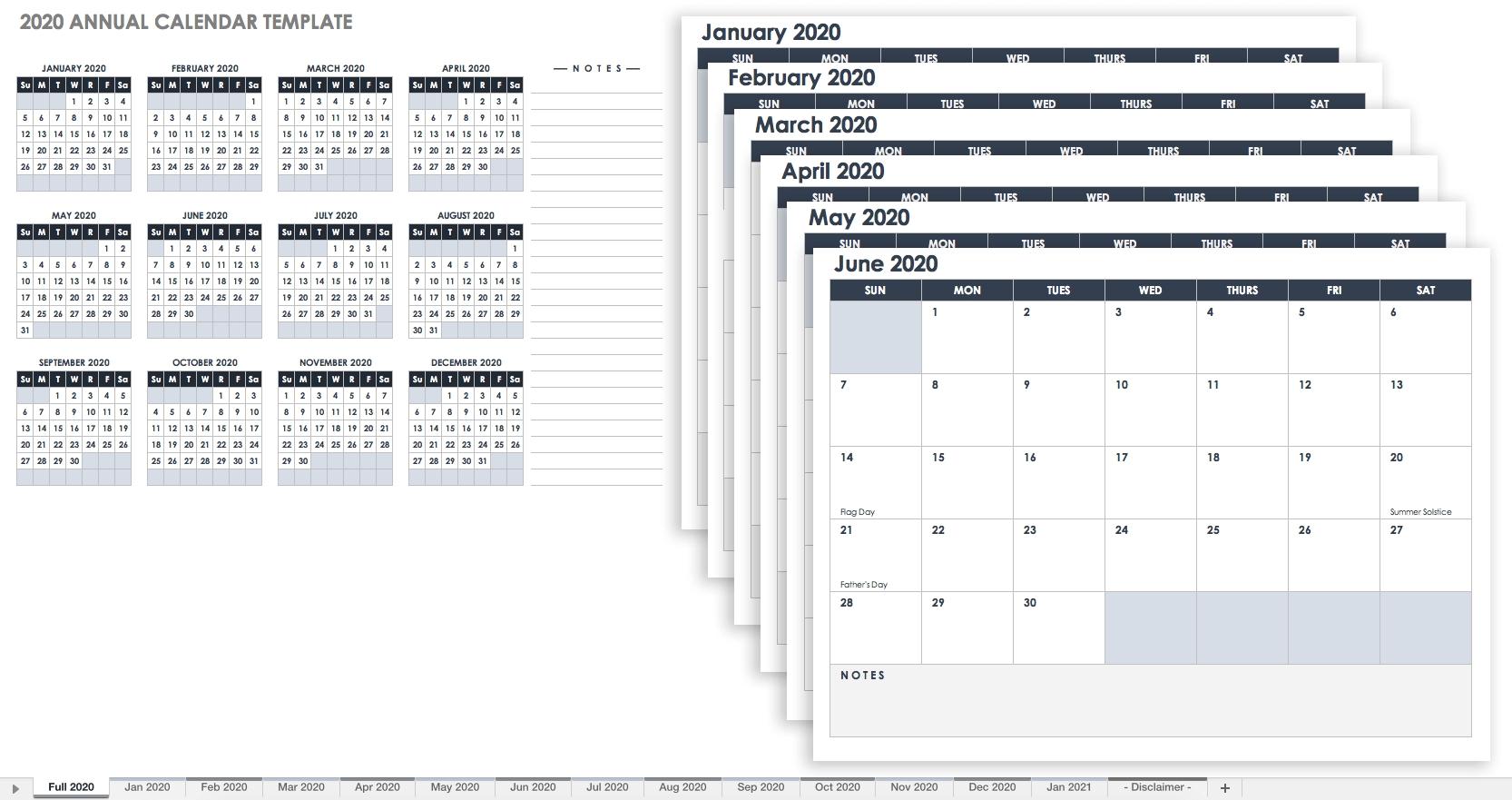 Free Excel Calendar Templates inside Excel Calendar At A Glance 2020