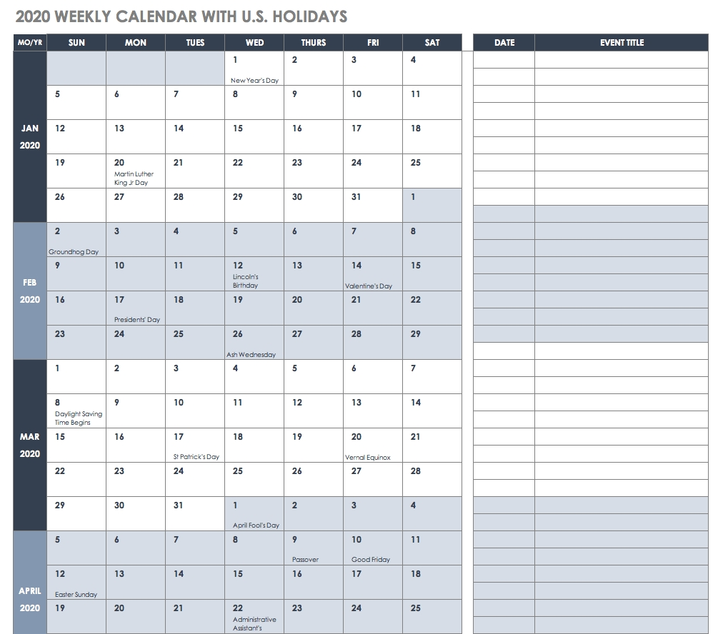 Free Excel Calendar Templates within Gant Chart Calendar Year In Weeks For 2020